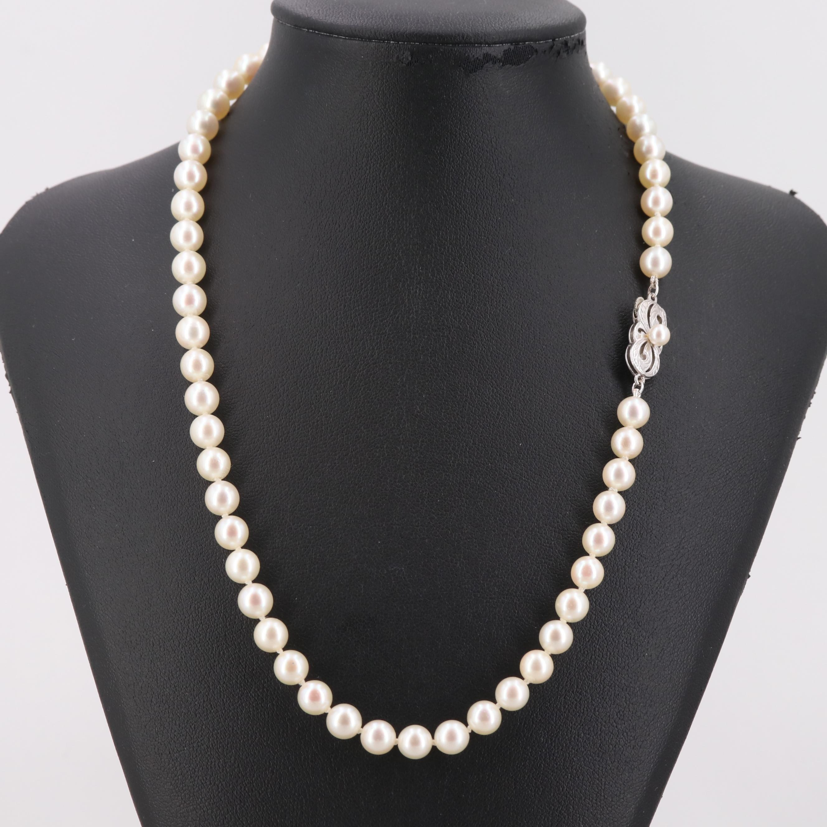 Vintage Mikimoto Cultured Pearl Bead Necklace with Sterling Silver