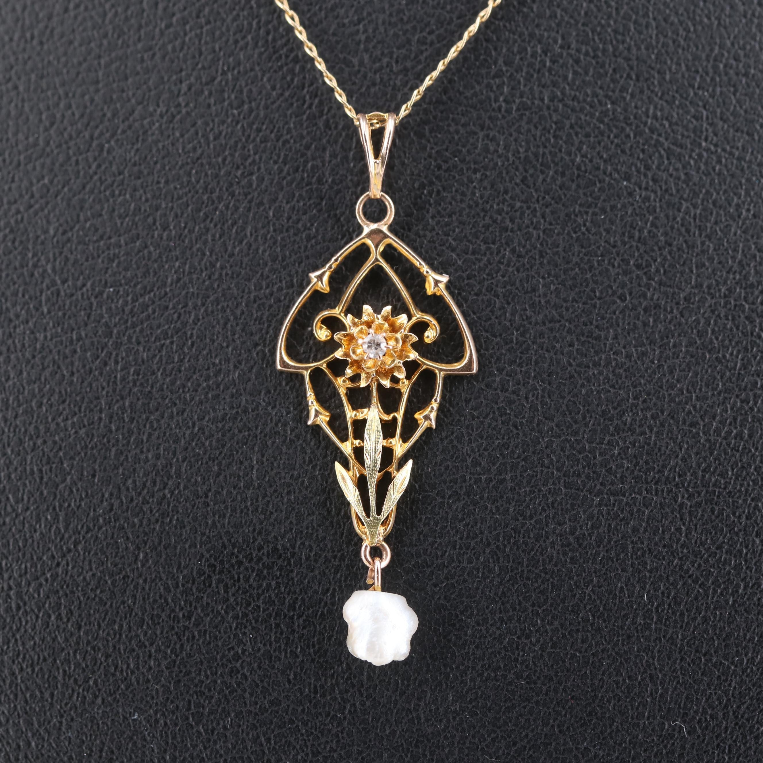 Art Nouveau 10K Yellow Gold Diamond and Pearl Pendant with 14K Gold Necklace