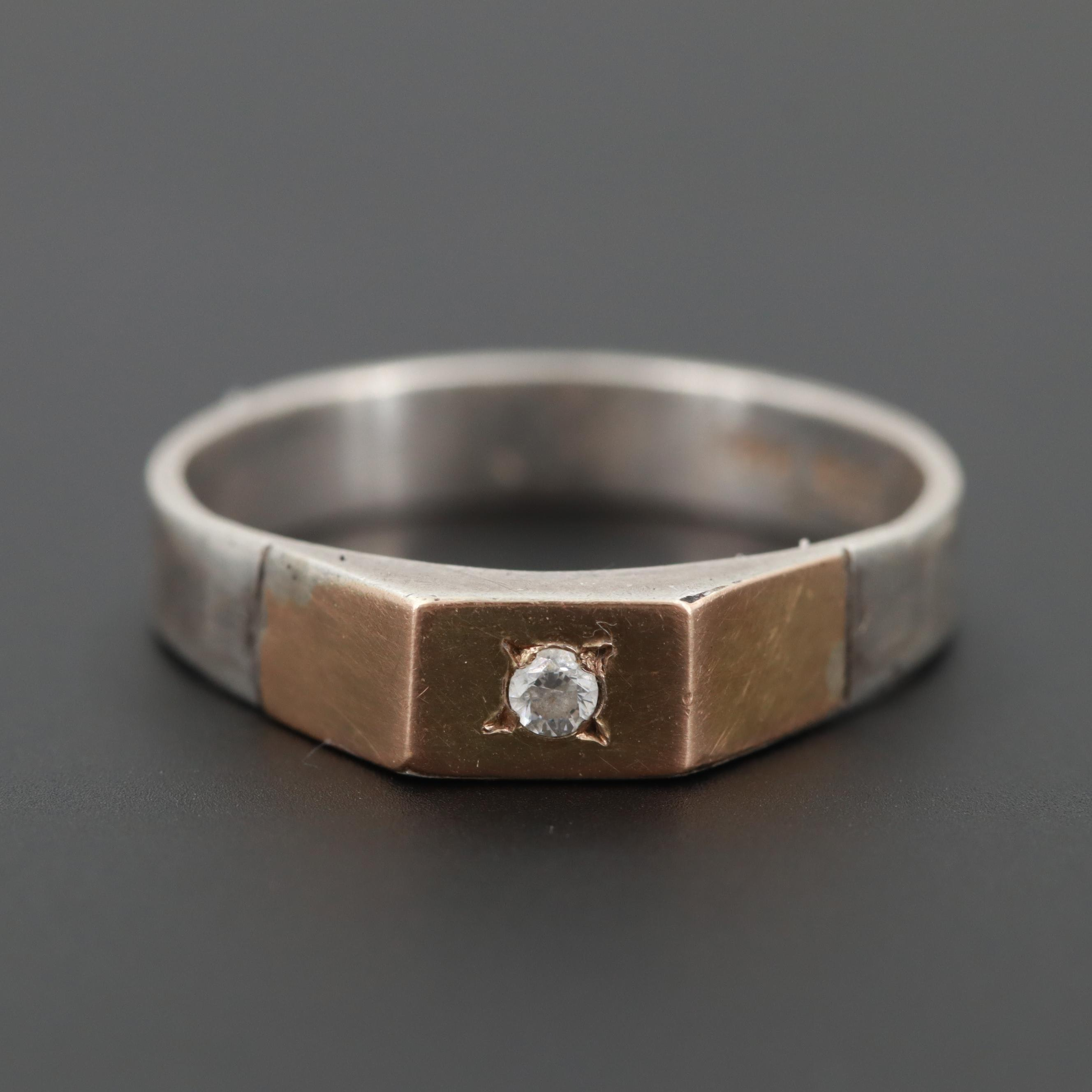 Sterling Silver and 18K Yellow Gold Cubic Zirconia Ring