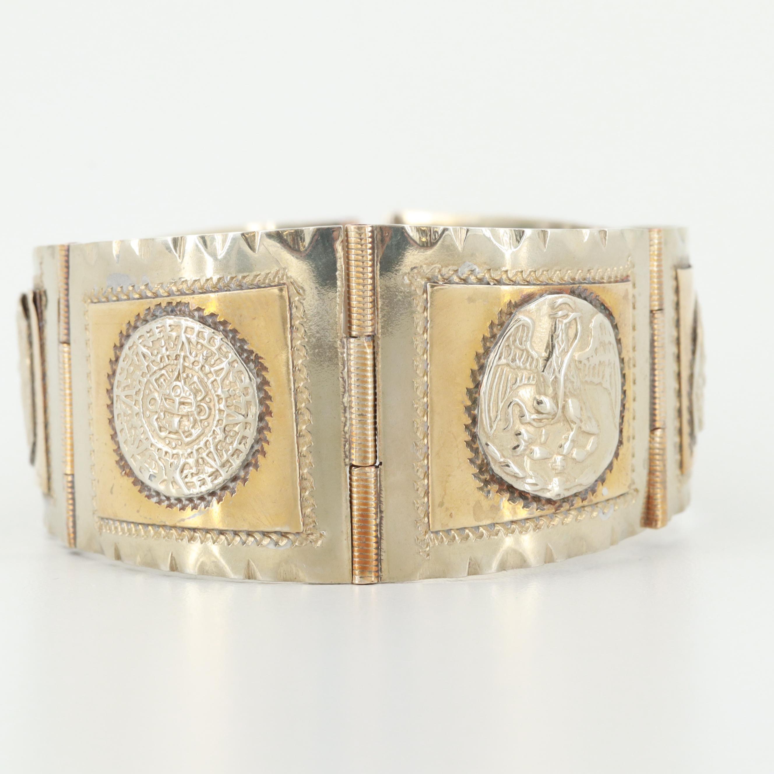 Taxco Sterling Silver Aztec Themed Paneled Bracelet