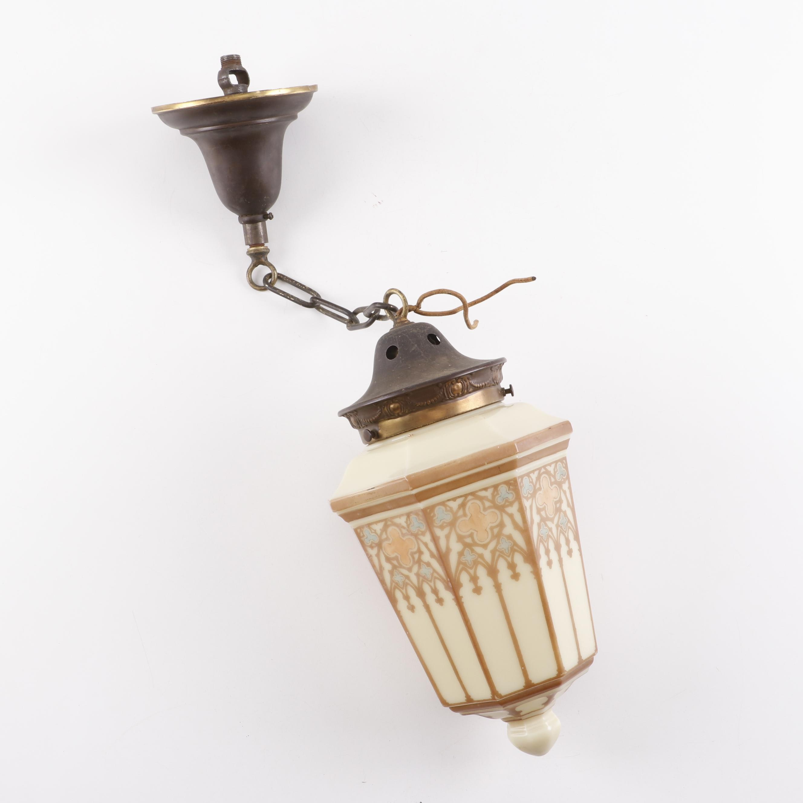 Arts and Crafts Style Hand-Painted Pendant Light, Early 20th Century