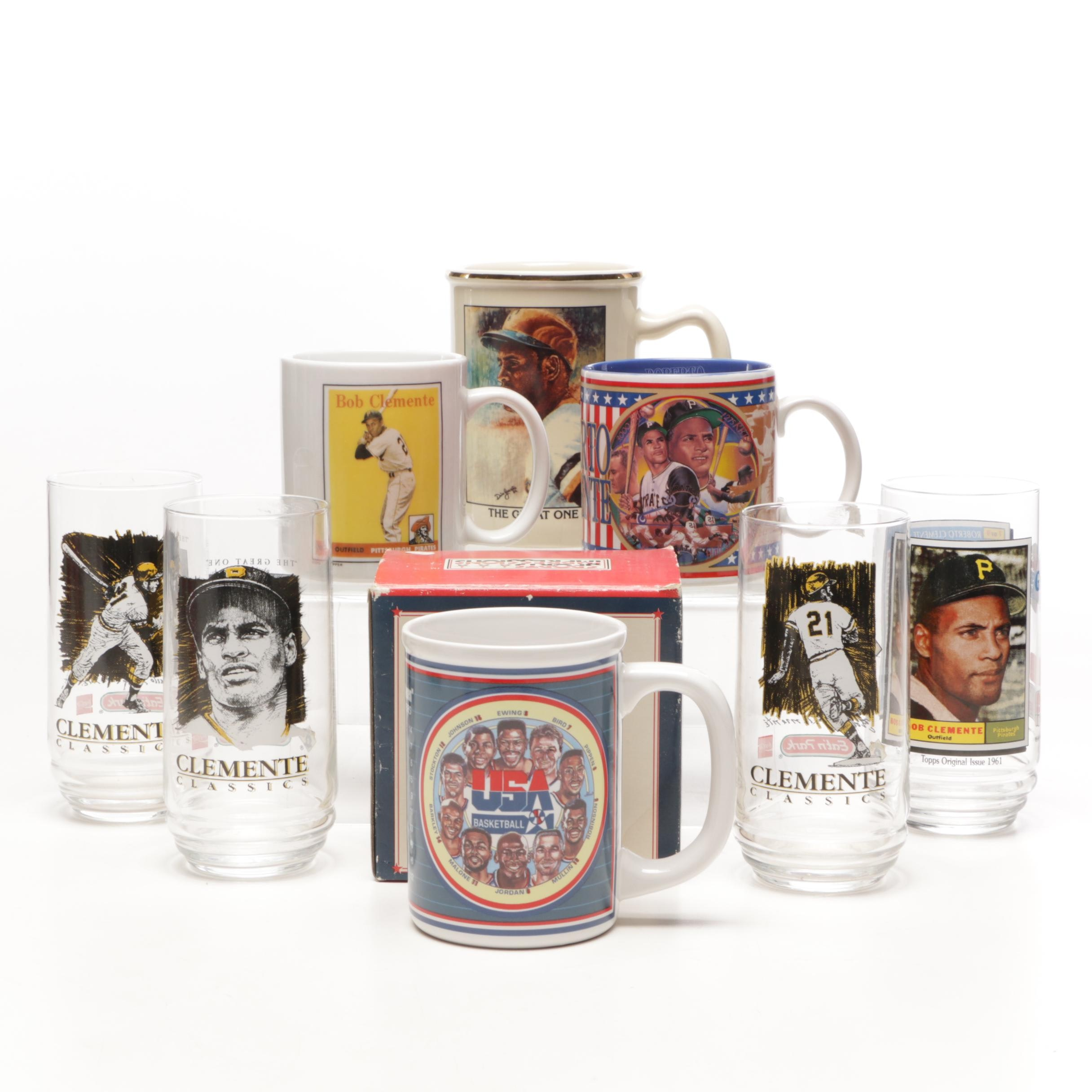 Sports Glasses, Mugs, and Stein Including Clemente and '94 USA Dream Team
