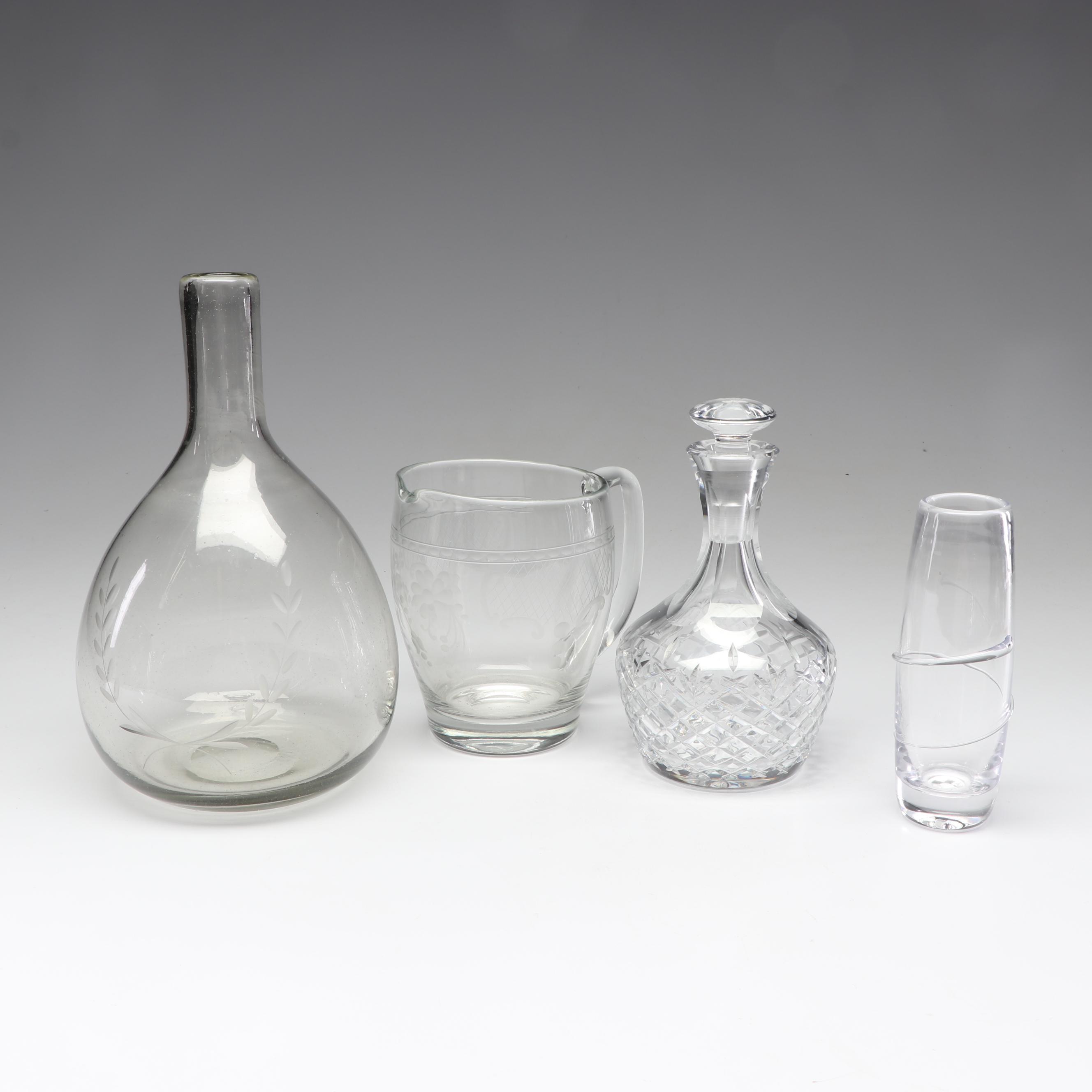 "Simon Pearce ""Wellesley"" Glass Vase with Art Glass and Crystal Drinkware"