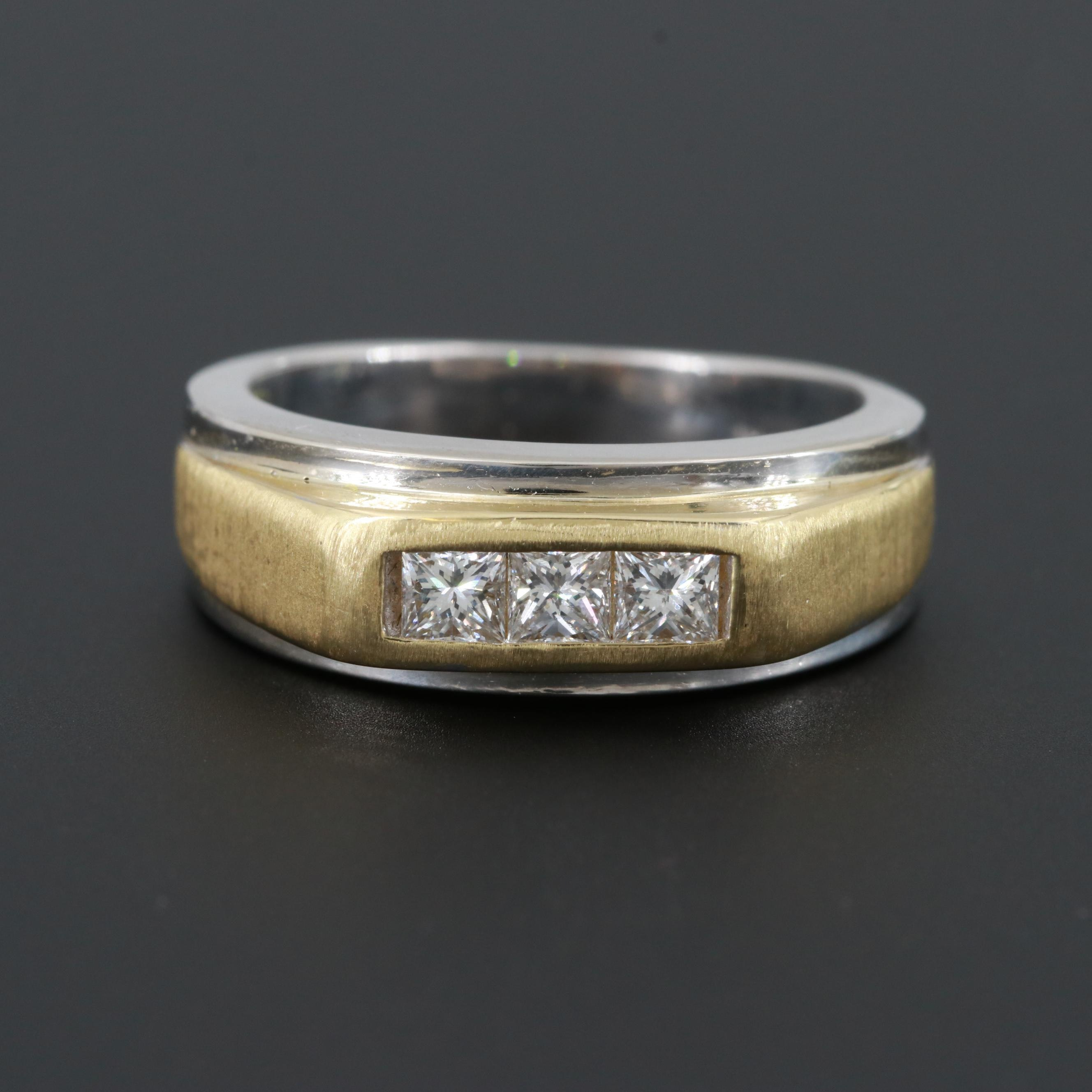 14K White Gold Diamond Ring with 18K Yellow Gold Accents