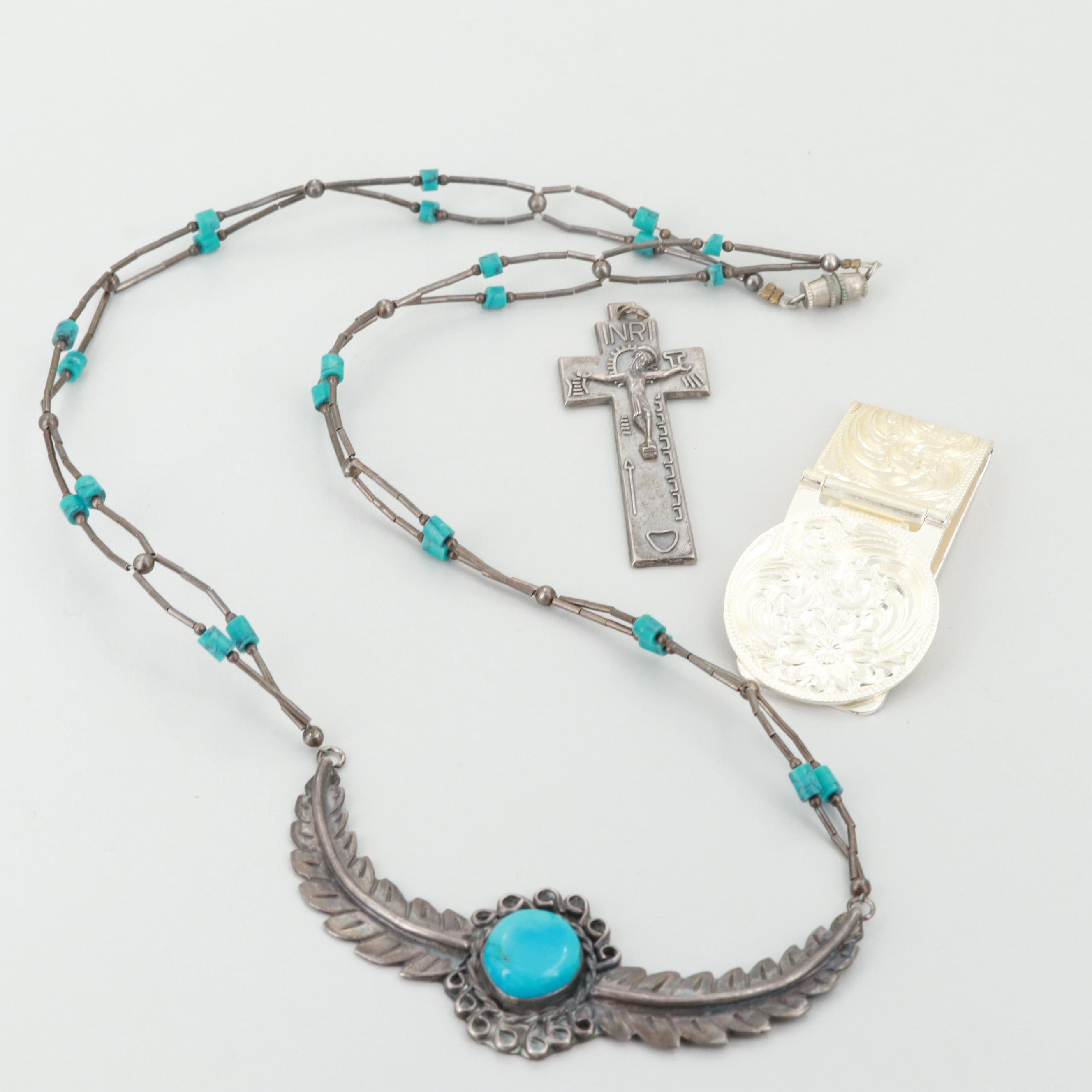 Sterling Silver Turquoise and Resin Necklace and Silver Tone Jewelry