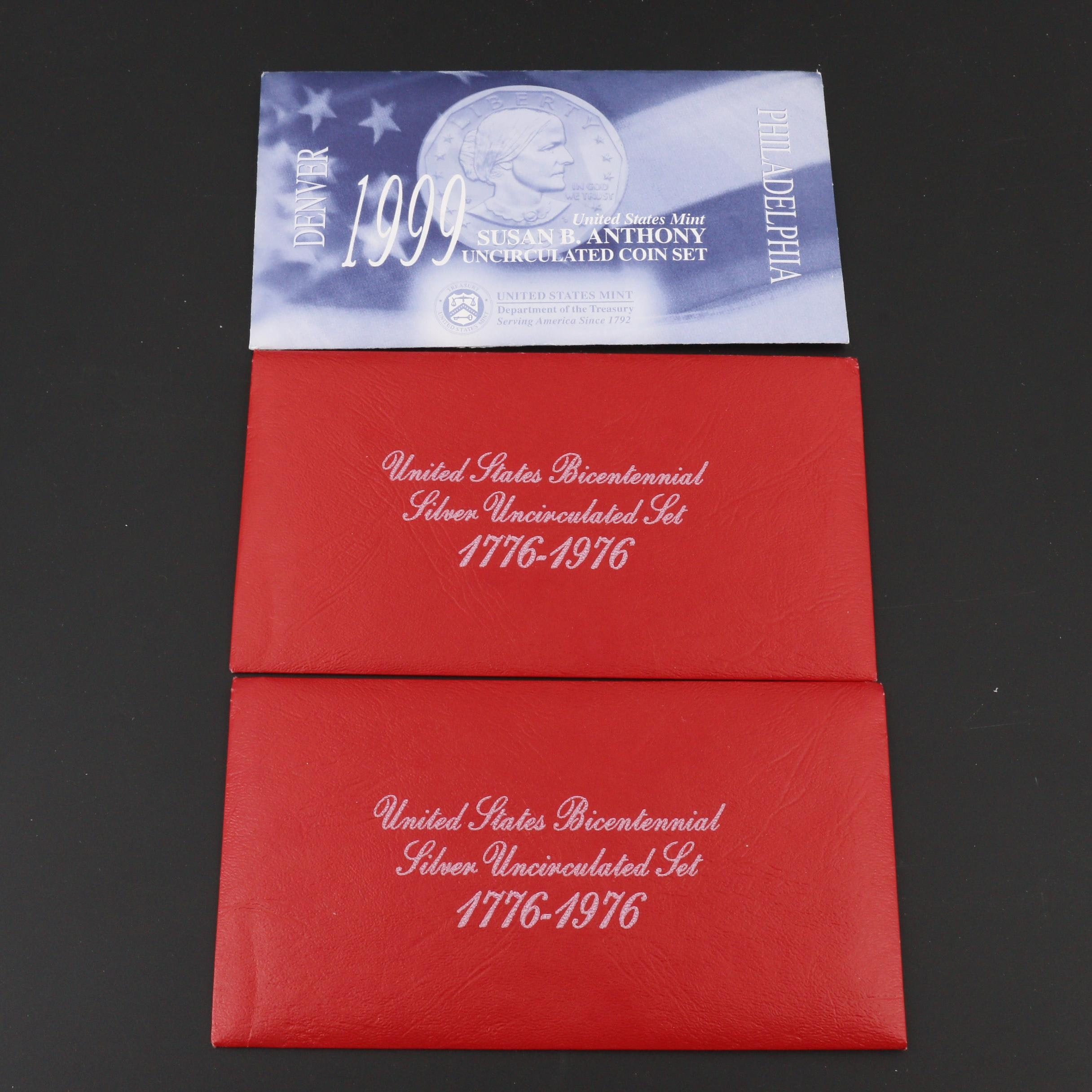 Two U.S. Bicentennial Silver Uncirculated Sets and a Susan B. Anthony Coin Set