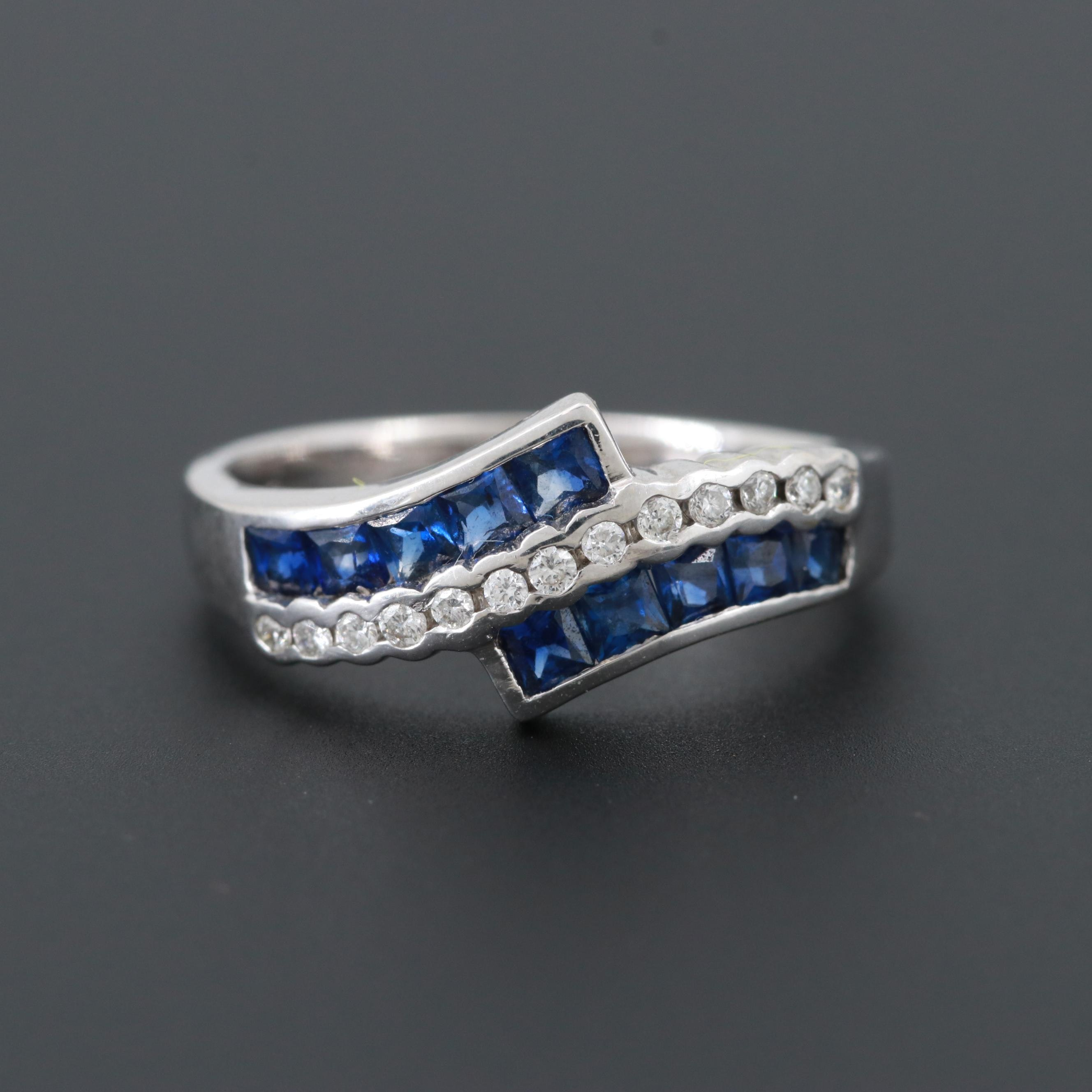 18K White Gold Blue Sapphire and Diamond Bypass Ring