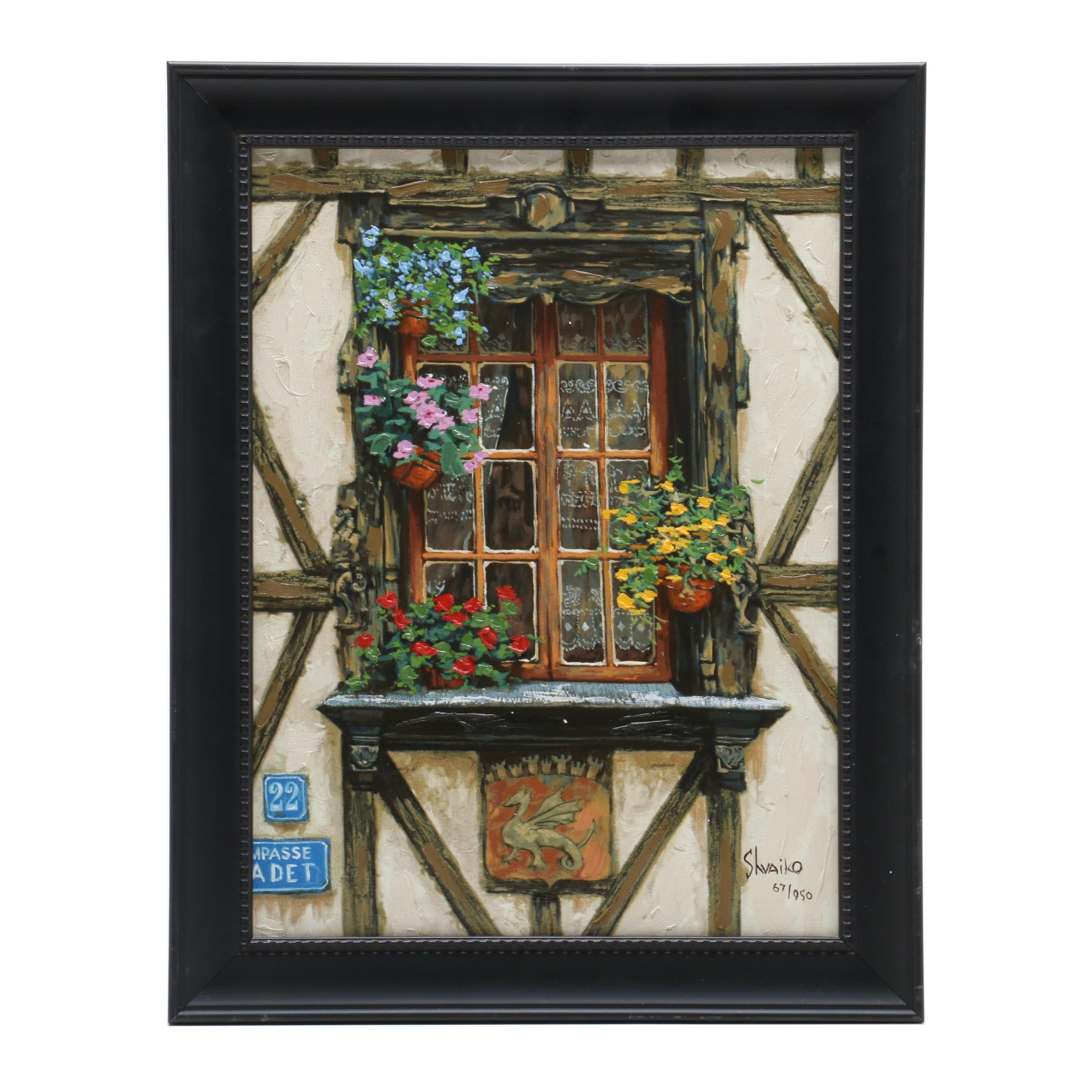 Viktor Shvaiko Hand Embellished Giclee Print of Window with Potted Plants