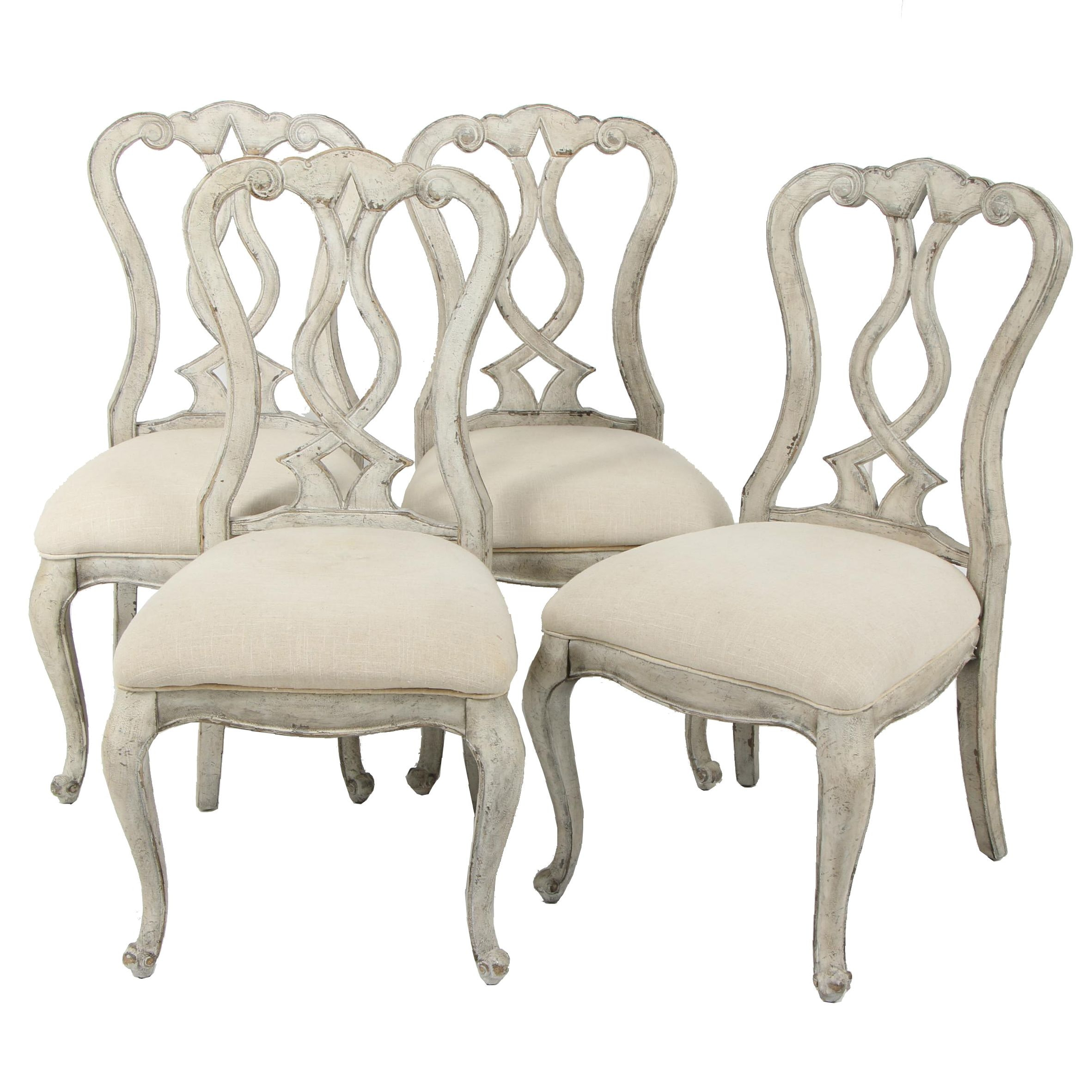 Contemporary Hooker Distressed Wooden Dining Chairs
