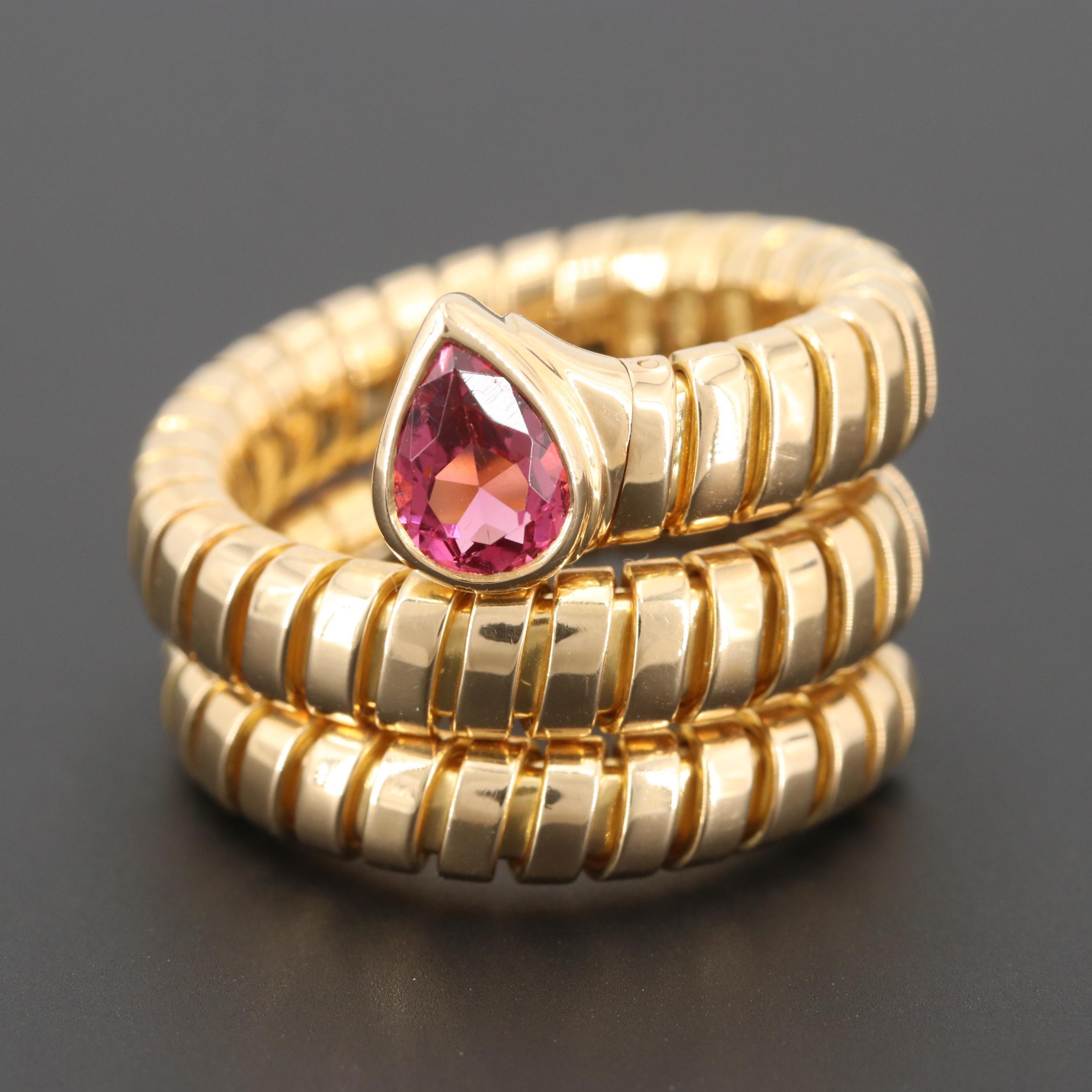 """Bulgari """"Sepent Tubogas"""" 18K Yellow Gold Pink Tourmaline Ring"""