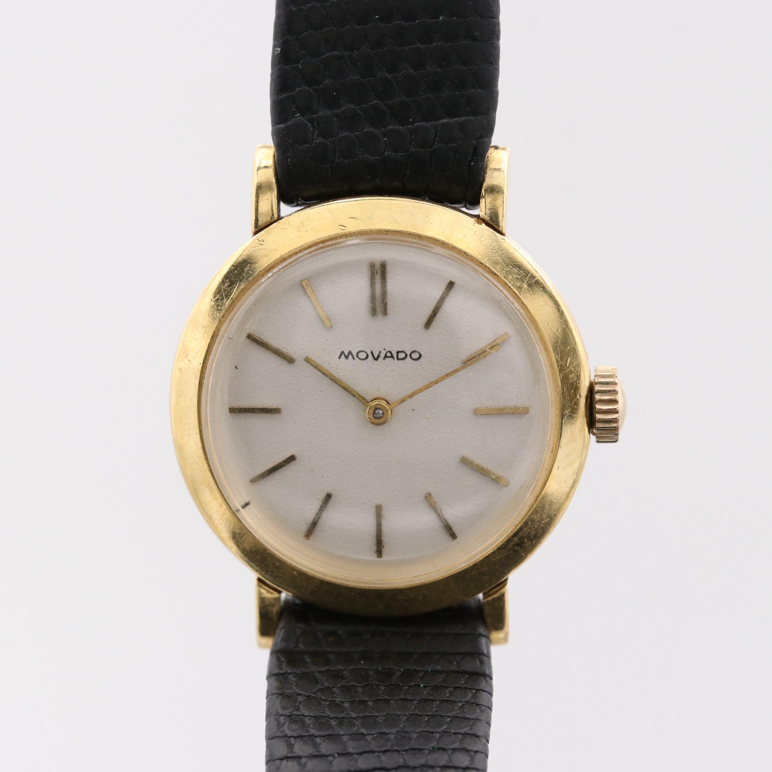 Vintage Movado 18K Yellow Gold Stem Wind Wristwatch