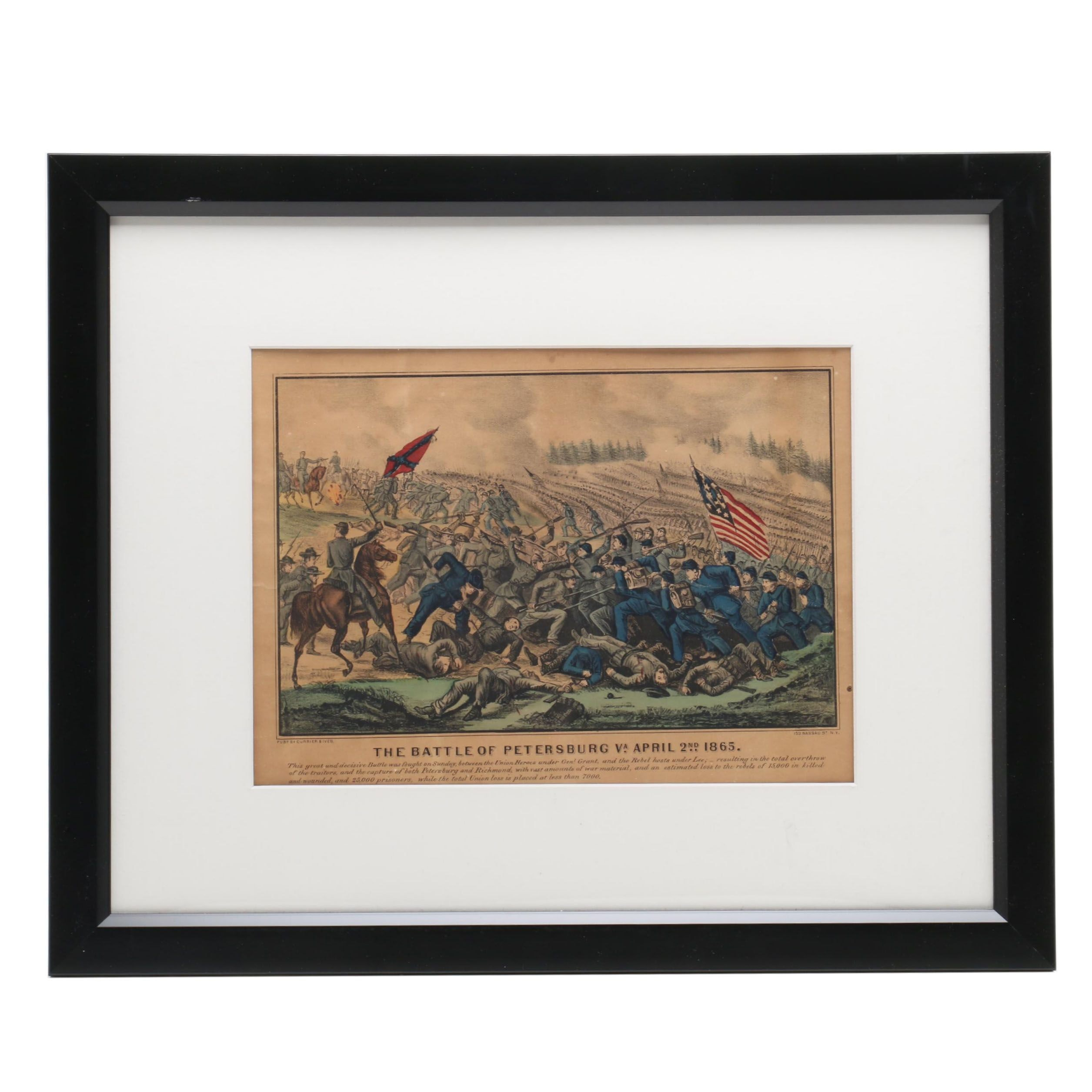 """Currier & Ives Lithographs """"The Battle of Petersburg Va. April 2nd 1865"""""""