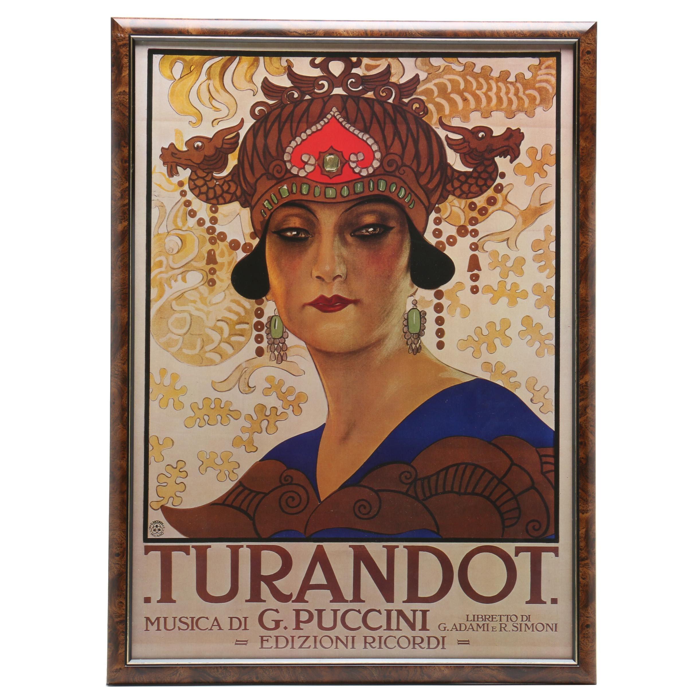 "Offset Lithograph Reproduction Poster for Giacomo Puccini's Opera ""Turandot"""