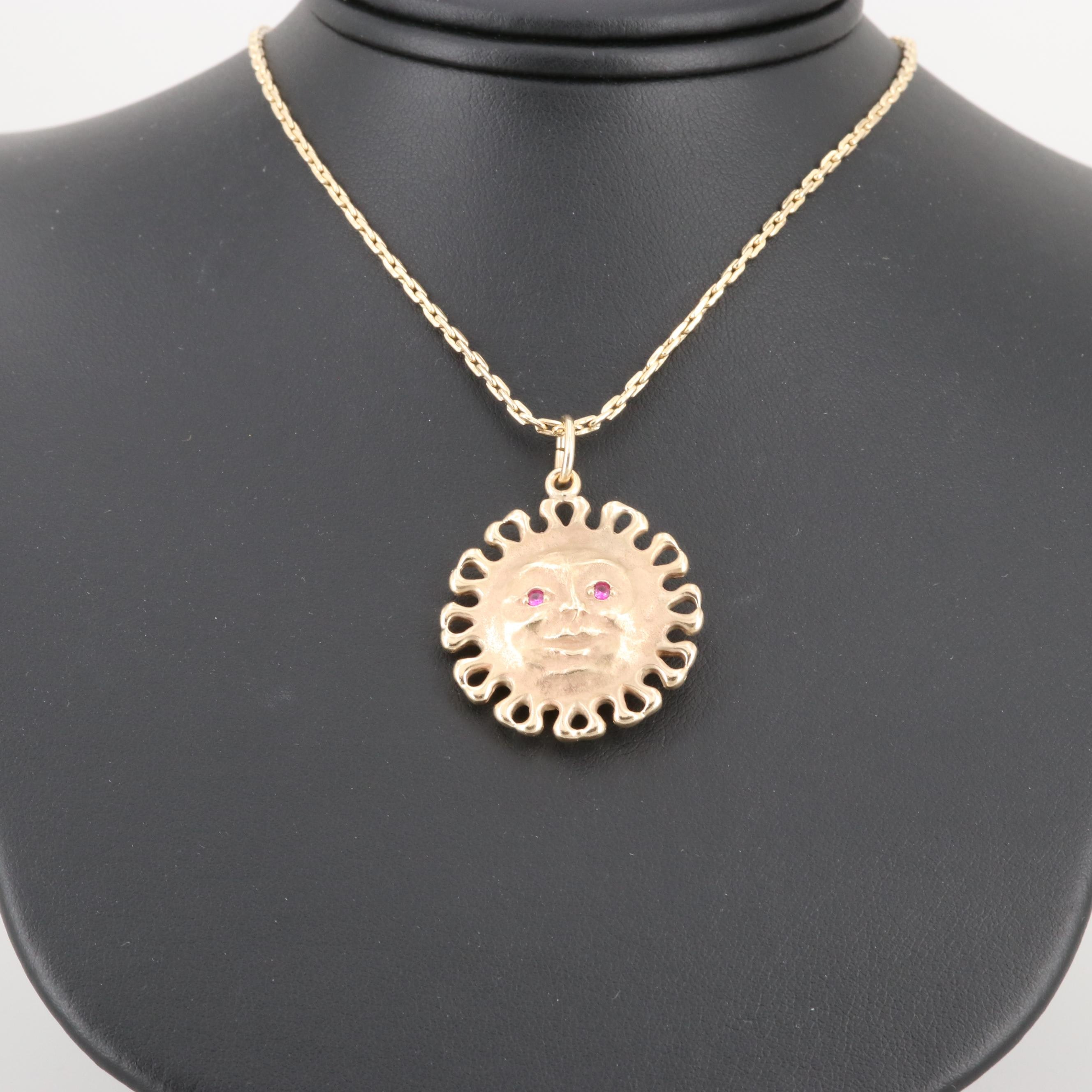 14K Yellow Gold Synthetic Sapphire and Synthetic Ruby Sun Pendant Necklace