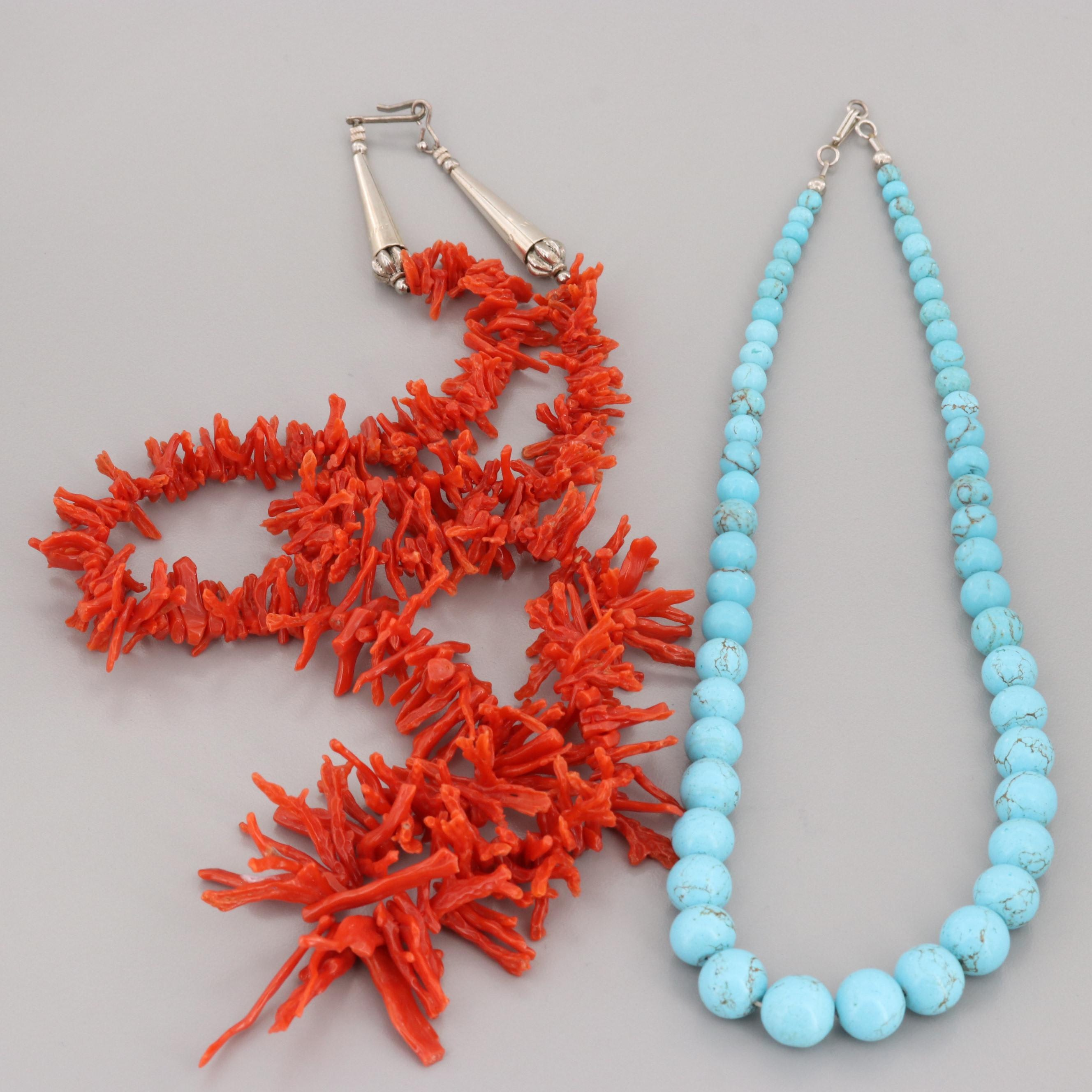 Sterling Silver Howlite Graduated Beaded Necklace and Silver Tone Coral Necklace