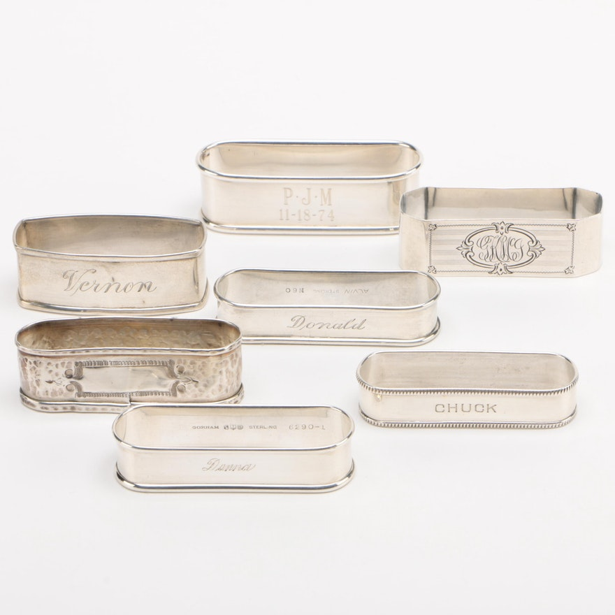 American Sterling Silver Napkin Rings Featuring Gorham