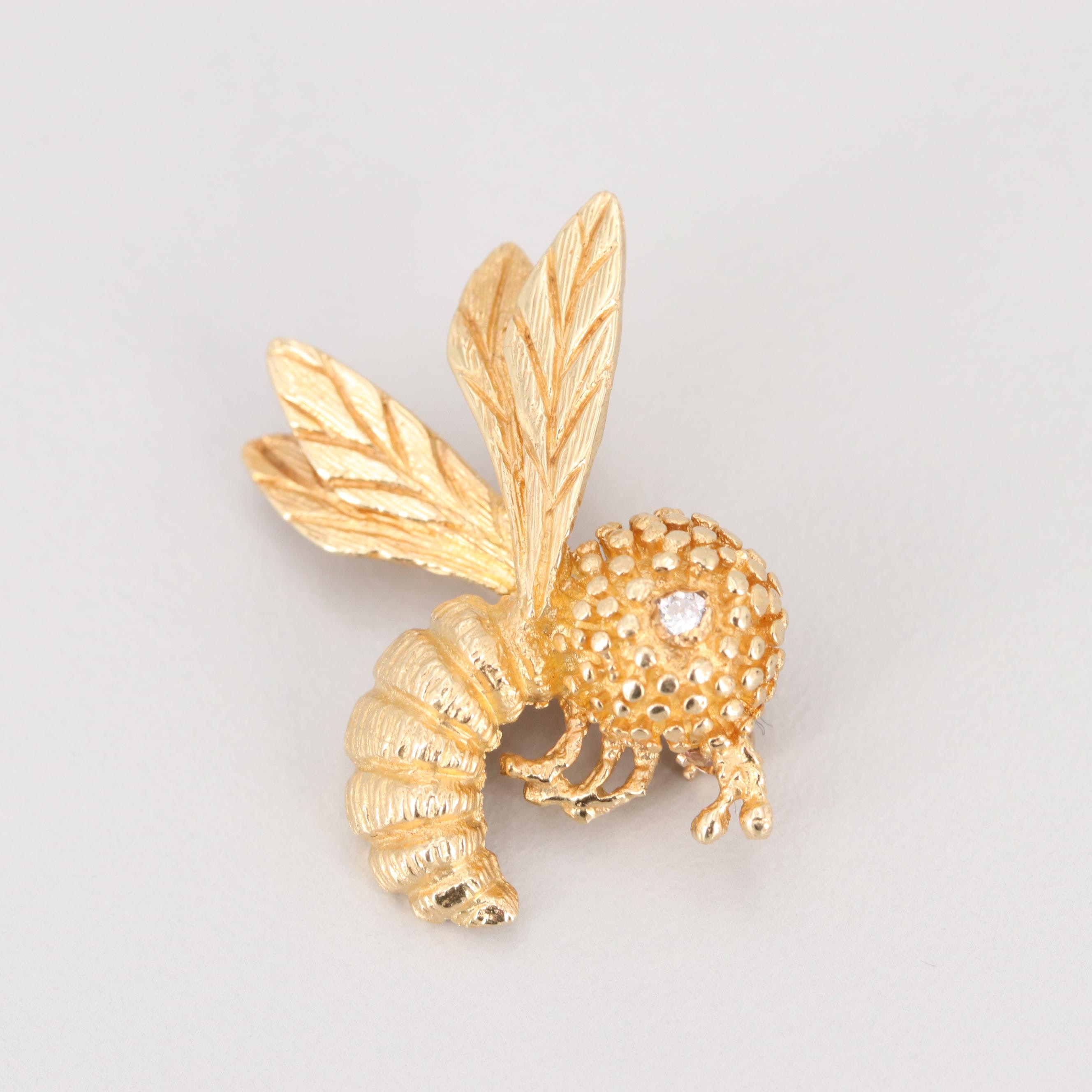 14K Yellow Gold Diamond Insect Brooch
