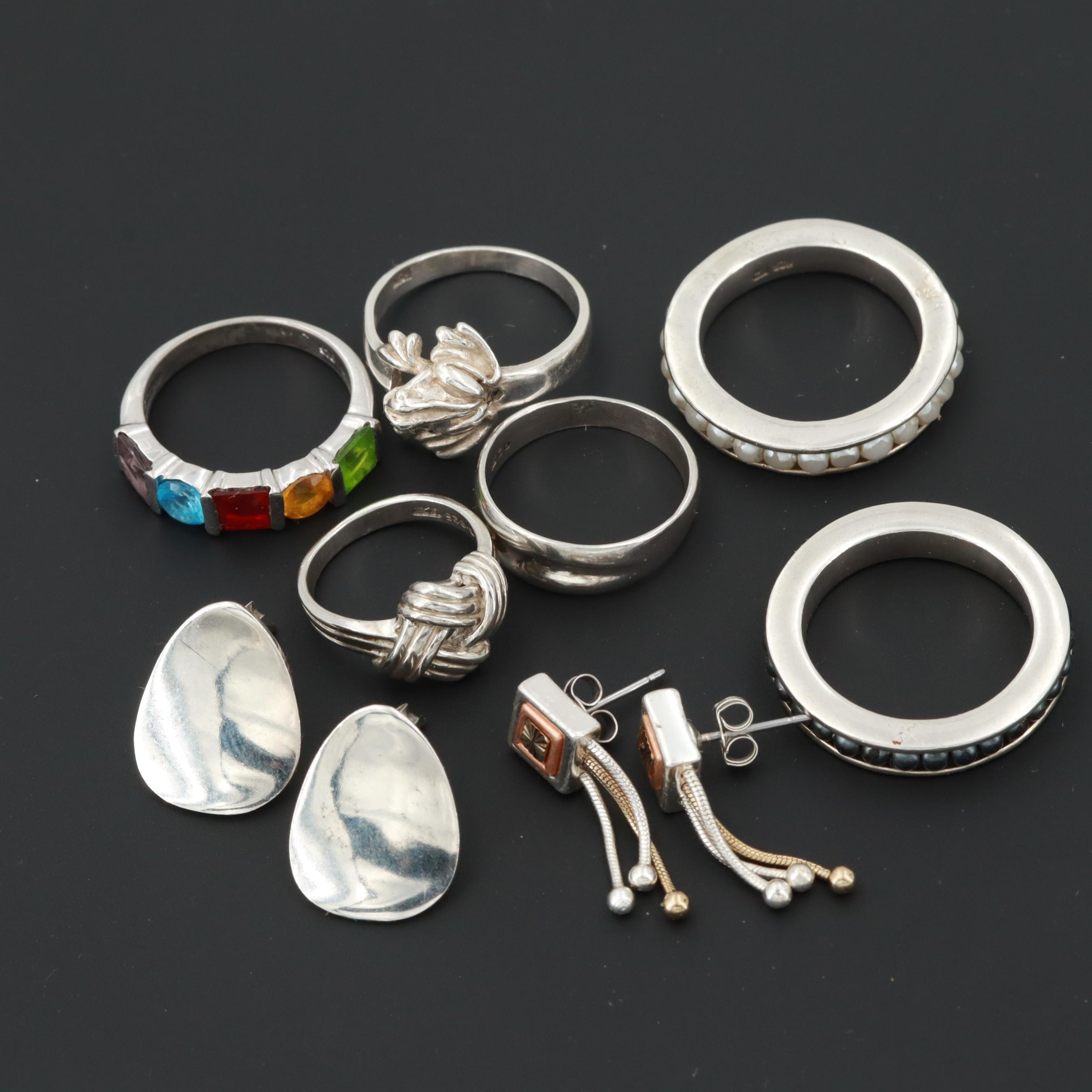 Sterling Silver and Silver Tone Rings and Earrings with Imitation Pearl
