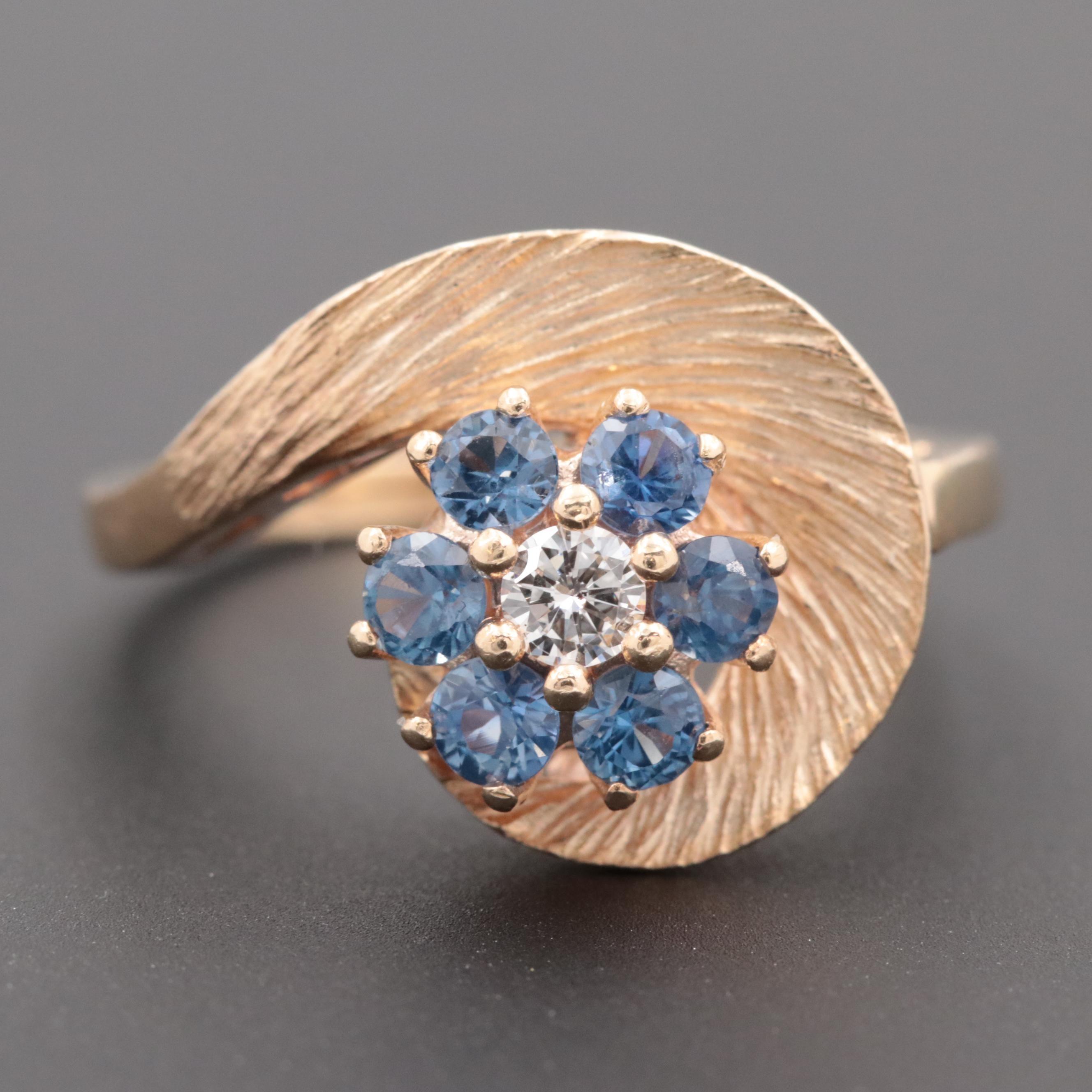 Vintage Circa 1960s 14K Yellow Gold Diamond and Blue Sapphire Ring