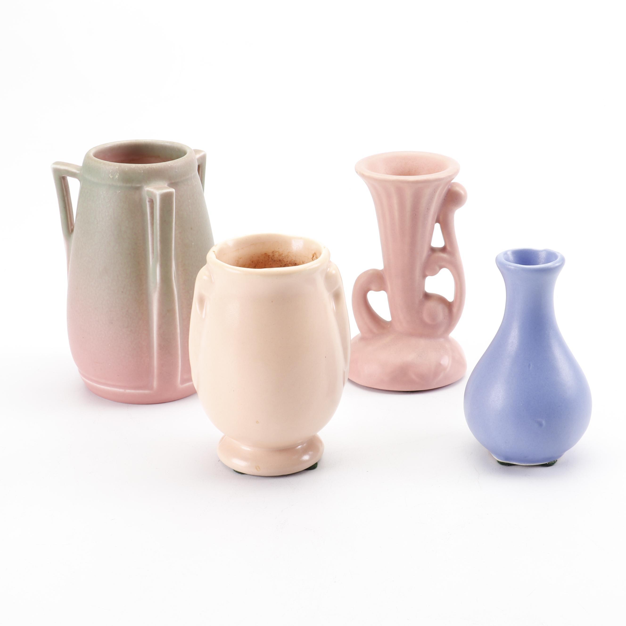 Rookwood Pottery 1927 Art Deco Handled Vase with Mid-Century Flower Vases