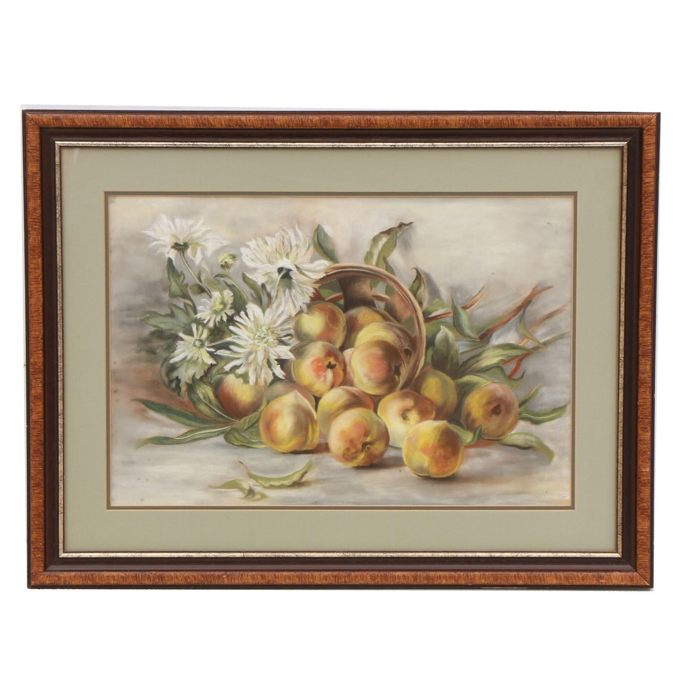 Pastel Still Life Drawing of Peaches and Flowers