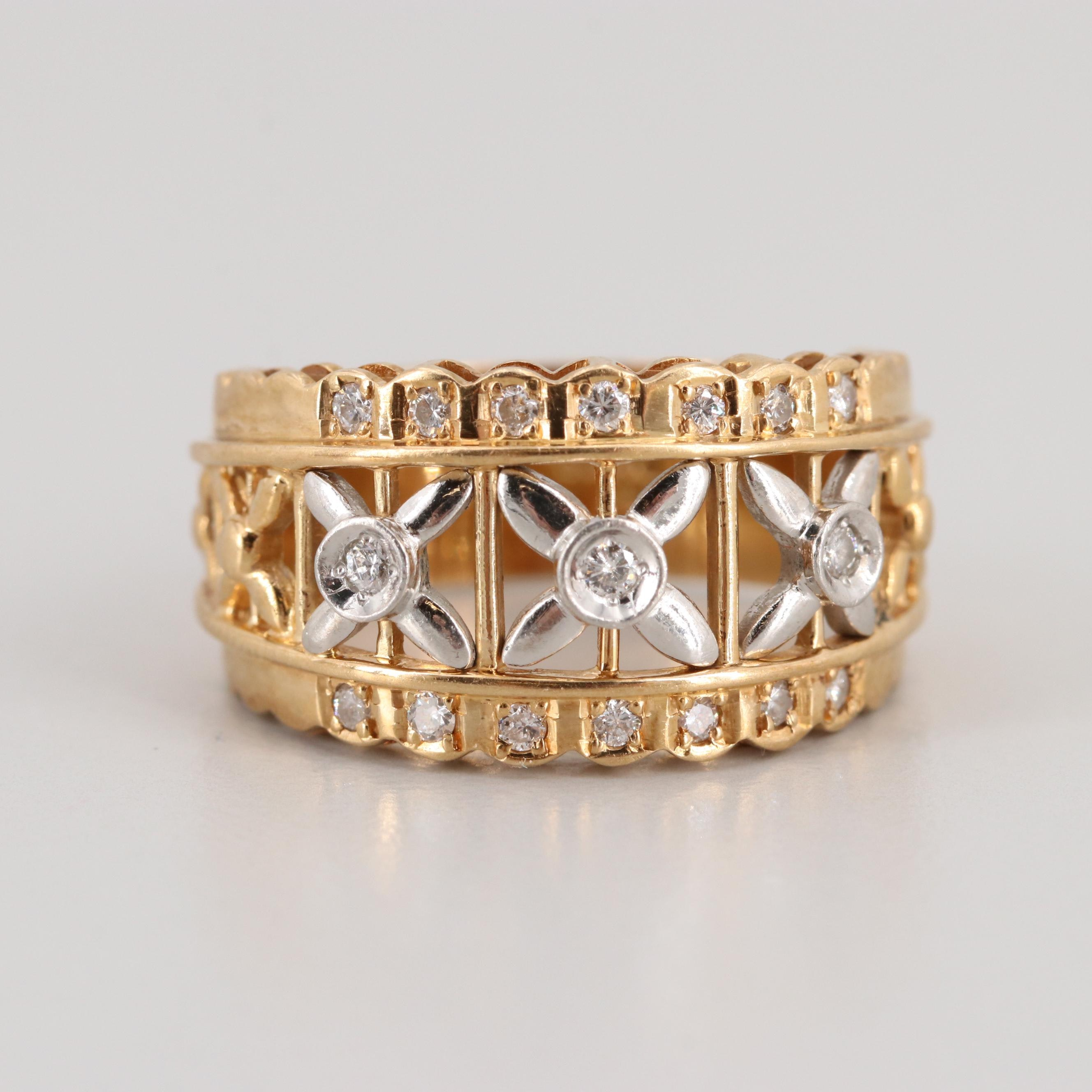 18K Yellow Gold Diamond Openwork Ring with Platinum Accents