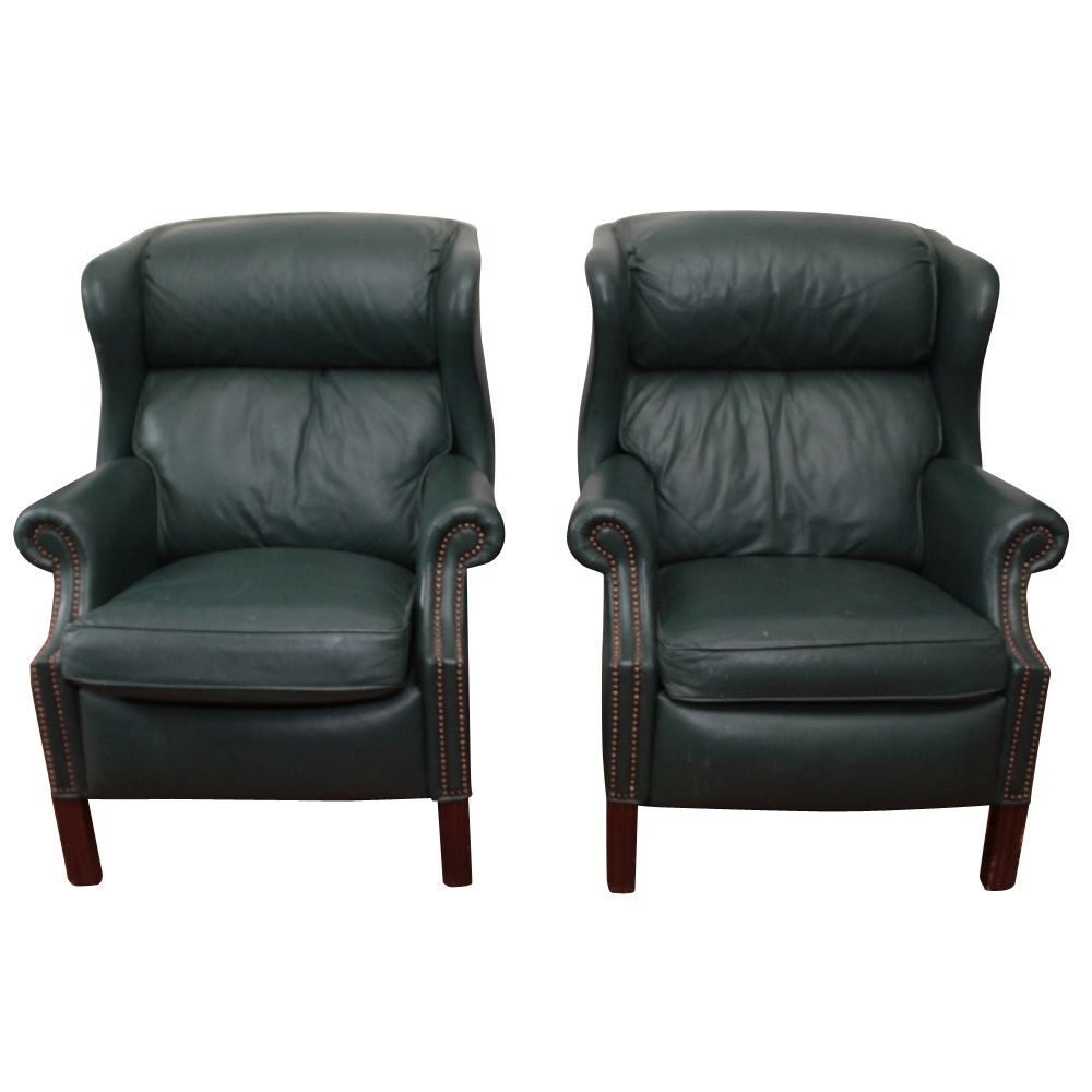 Pair of Bradington Young Green Leather Wingback Recliner Chairs