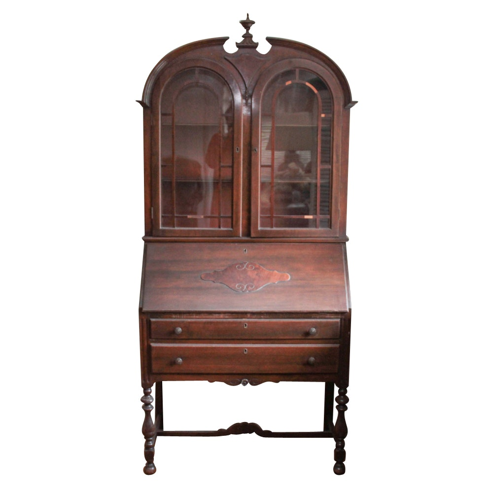 Federal Style Display Cabinet with Slant Desk
