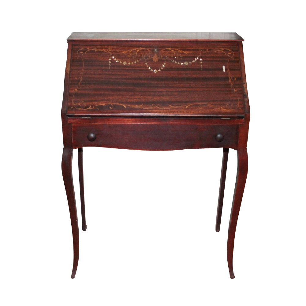 Slant Top Desk with Inlaid Design