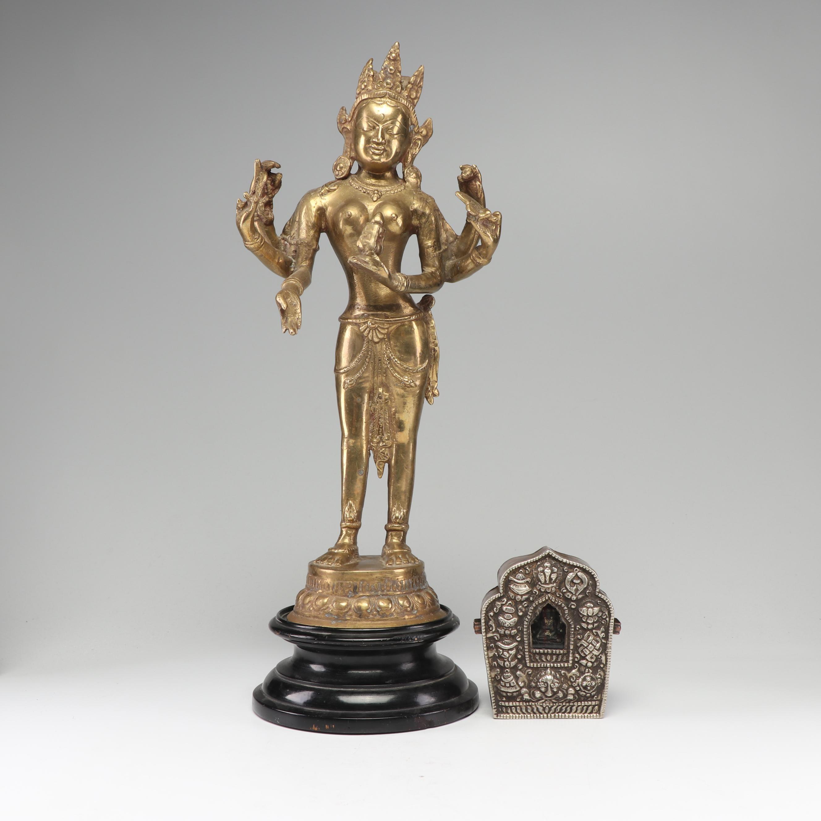 Indian Lakshmi Brass Statue with Tibetan Gau Traveling Altar