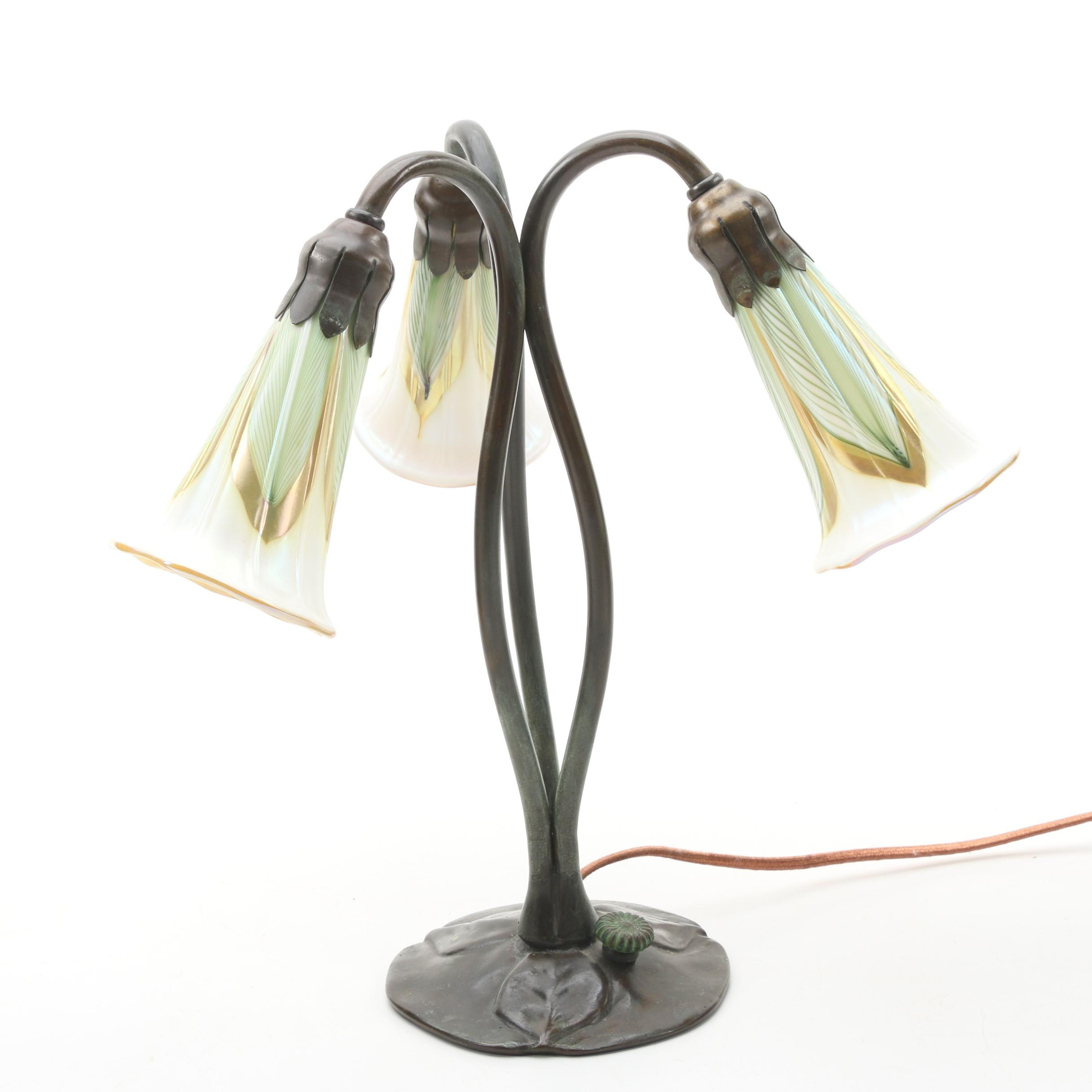 Art Nouveau Bronze Lily Table Lamp with Art Glass Shades, Early 20th C.