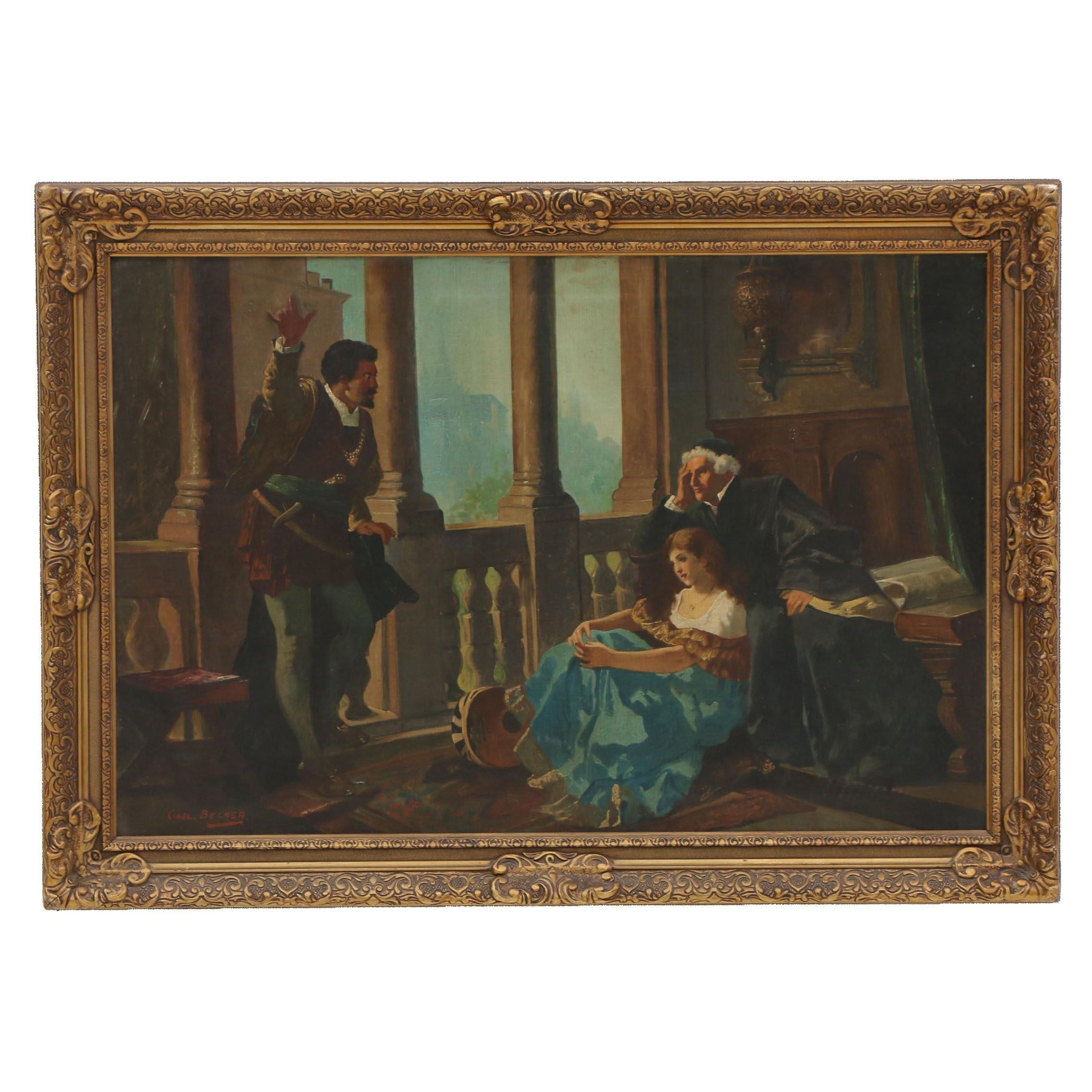 """Copy Painting after Karl Becker """"Othello, Desdemona and Brabantio"""""""
