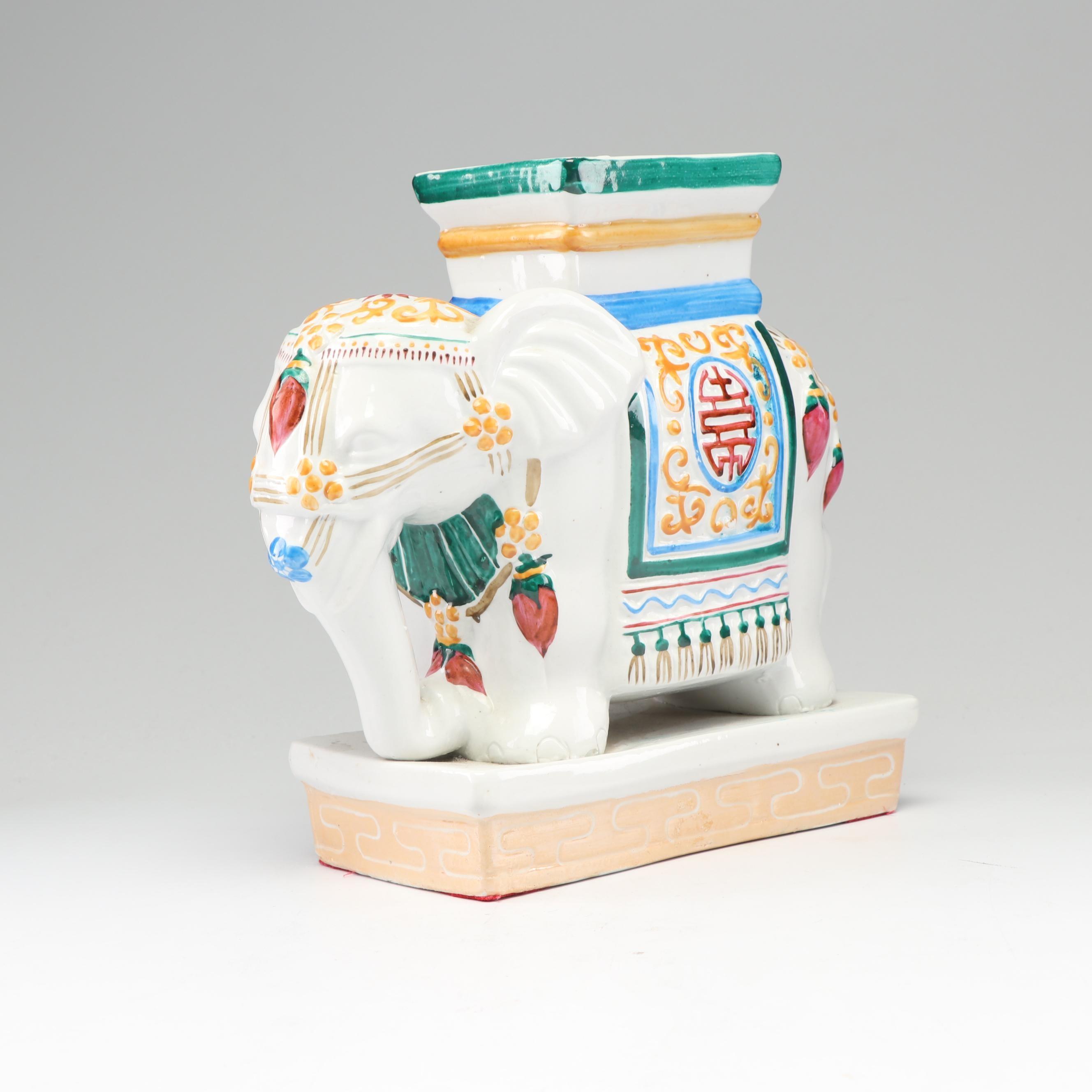 Vintage Chinese Hand-Painted Ceramic Elephant Figurine