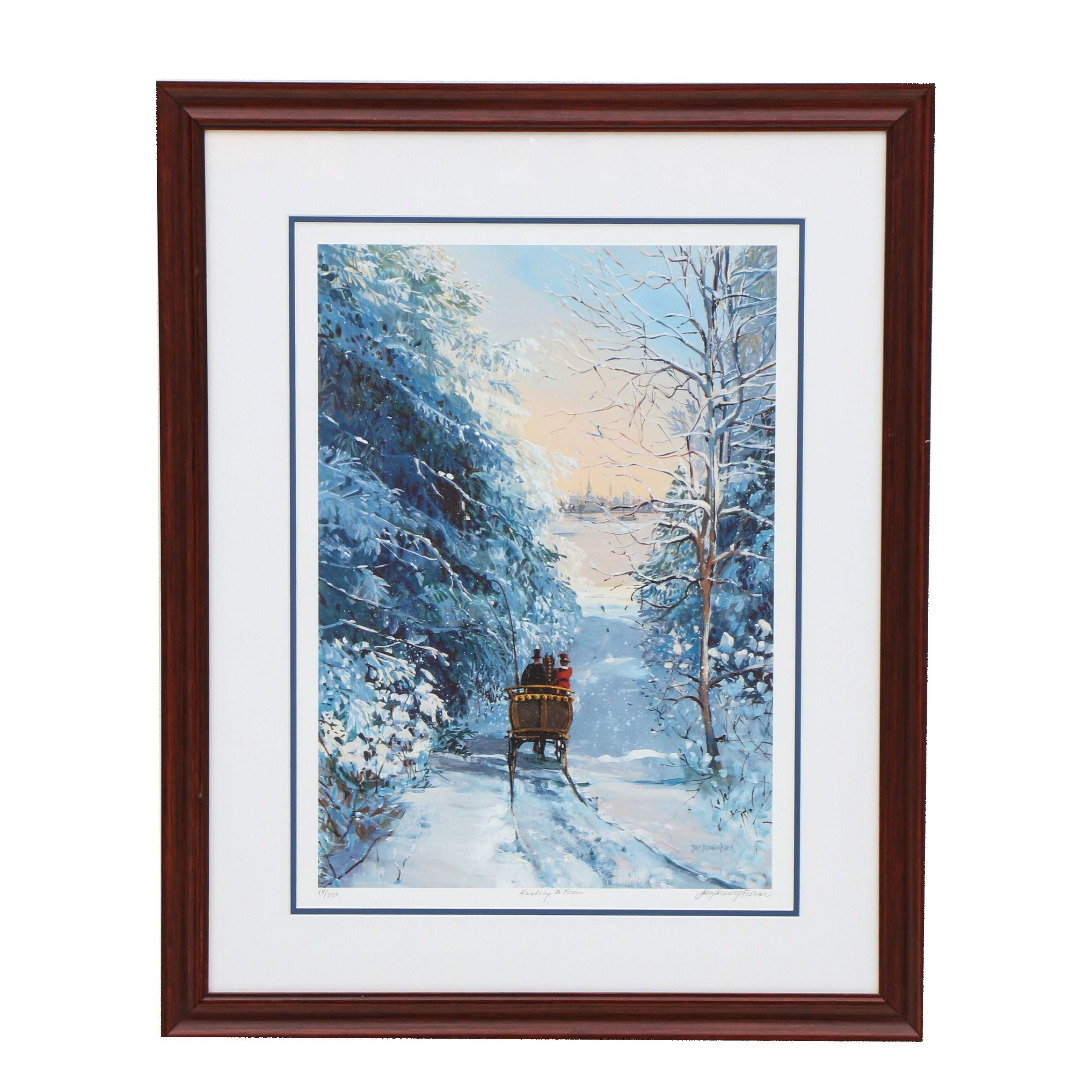"""Sally Caldwell Fisher Giclée """"Heading to Town"""""""