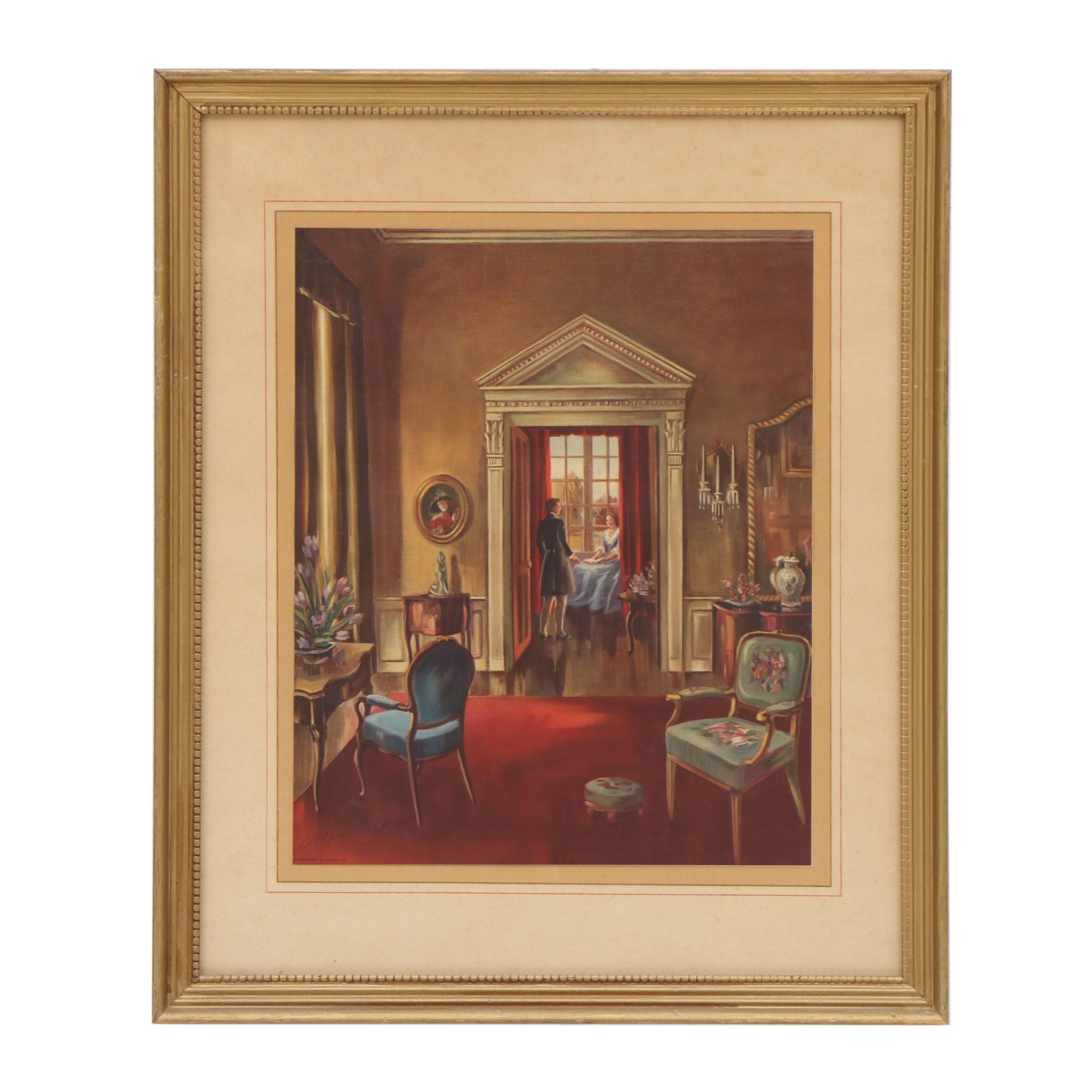 Allan Forbes Offset Lithograph of Interior Scene
