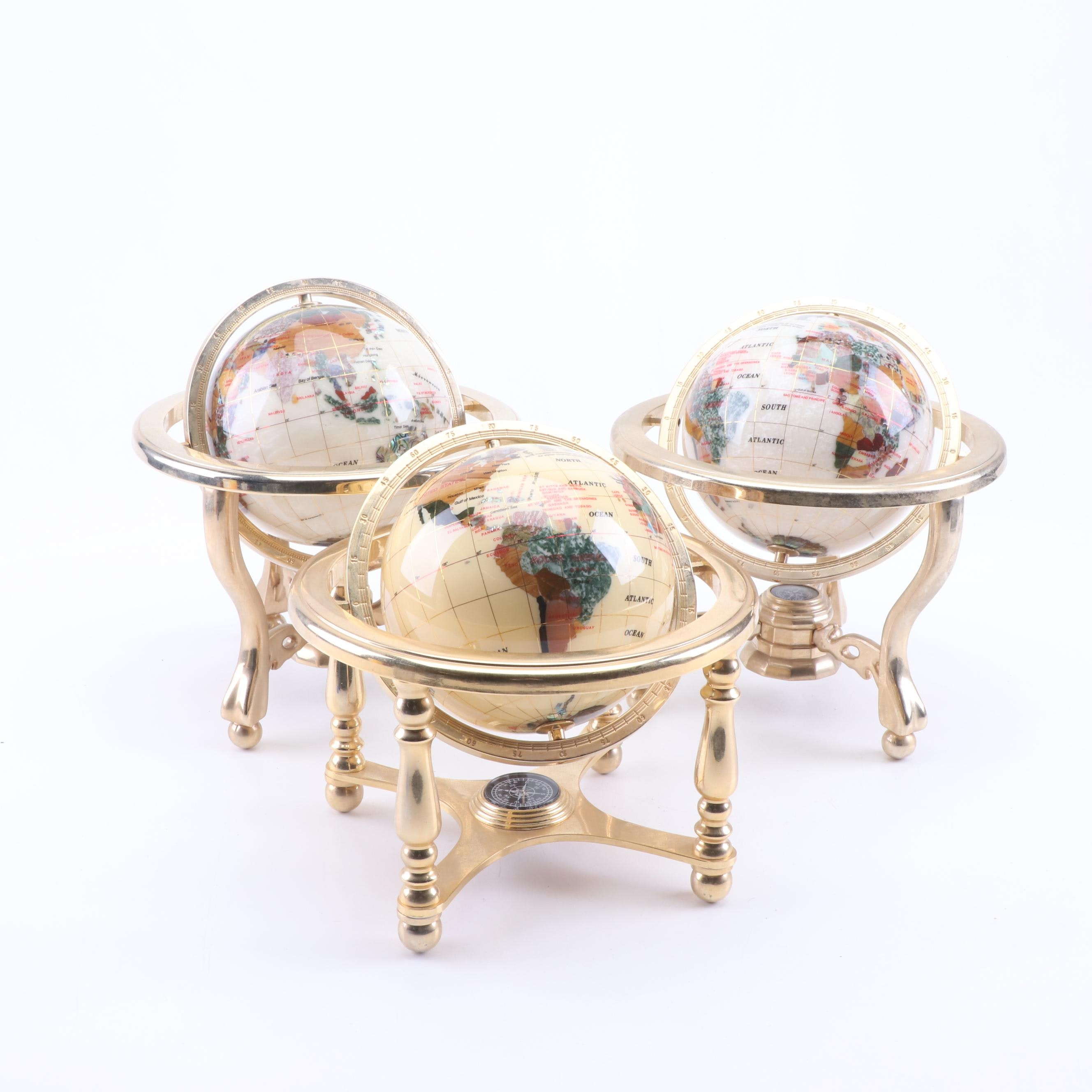 Stone Inlaid Desktop Globes on Brass Stands