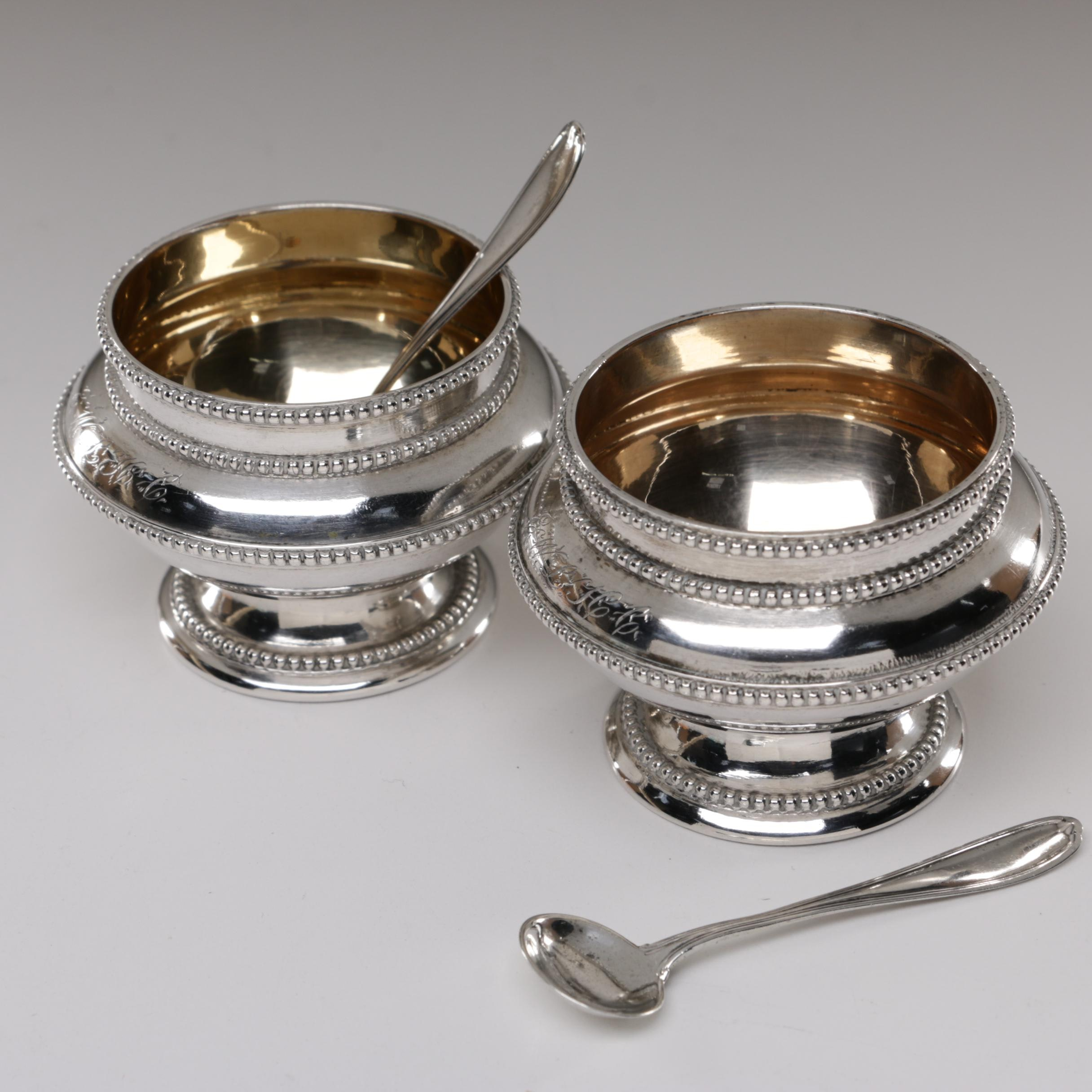 Coin Silver Salt Cellars with Alvin Sterling Salt Spoon