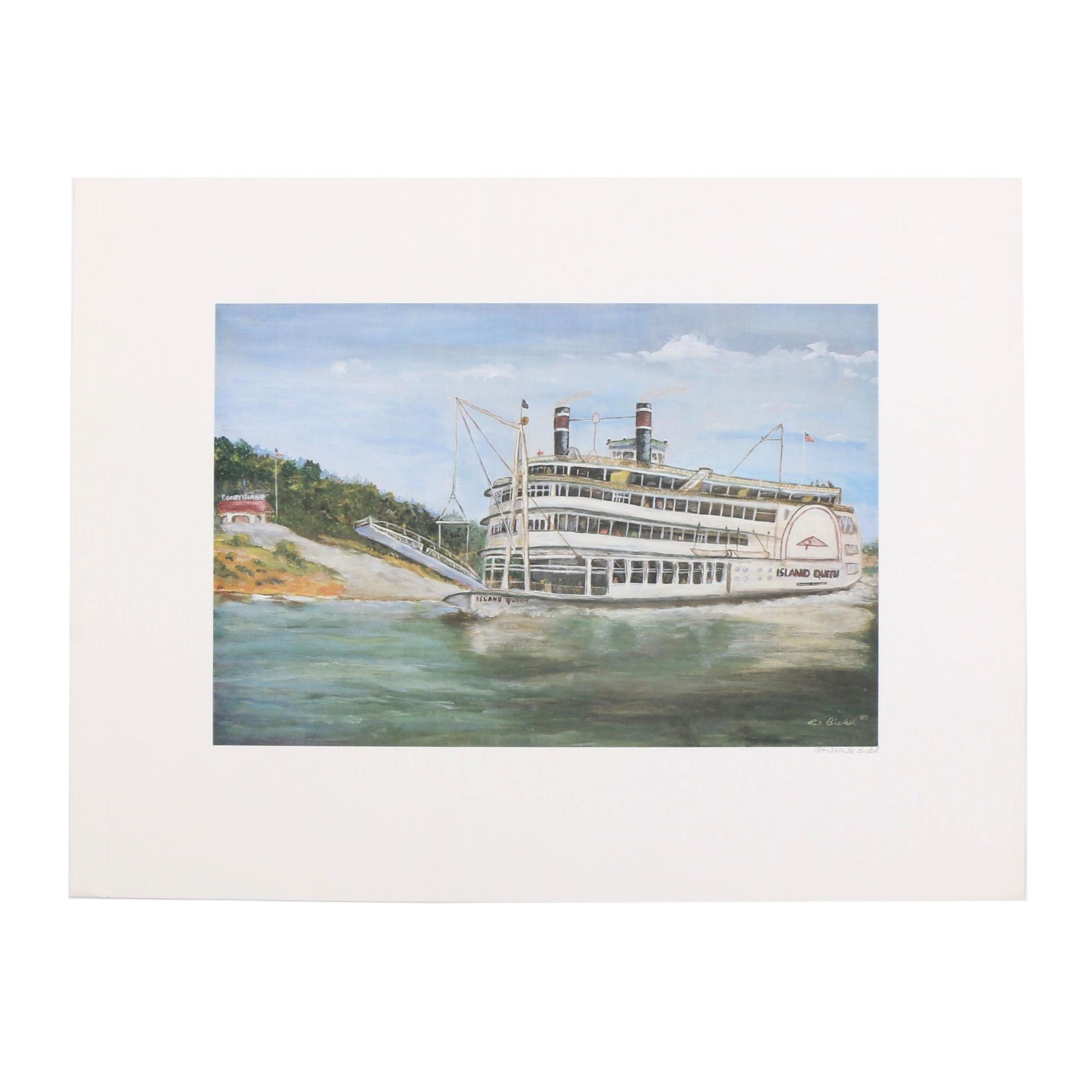 "Lil Bickel Offset Lithograph ""Island Queen"""