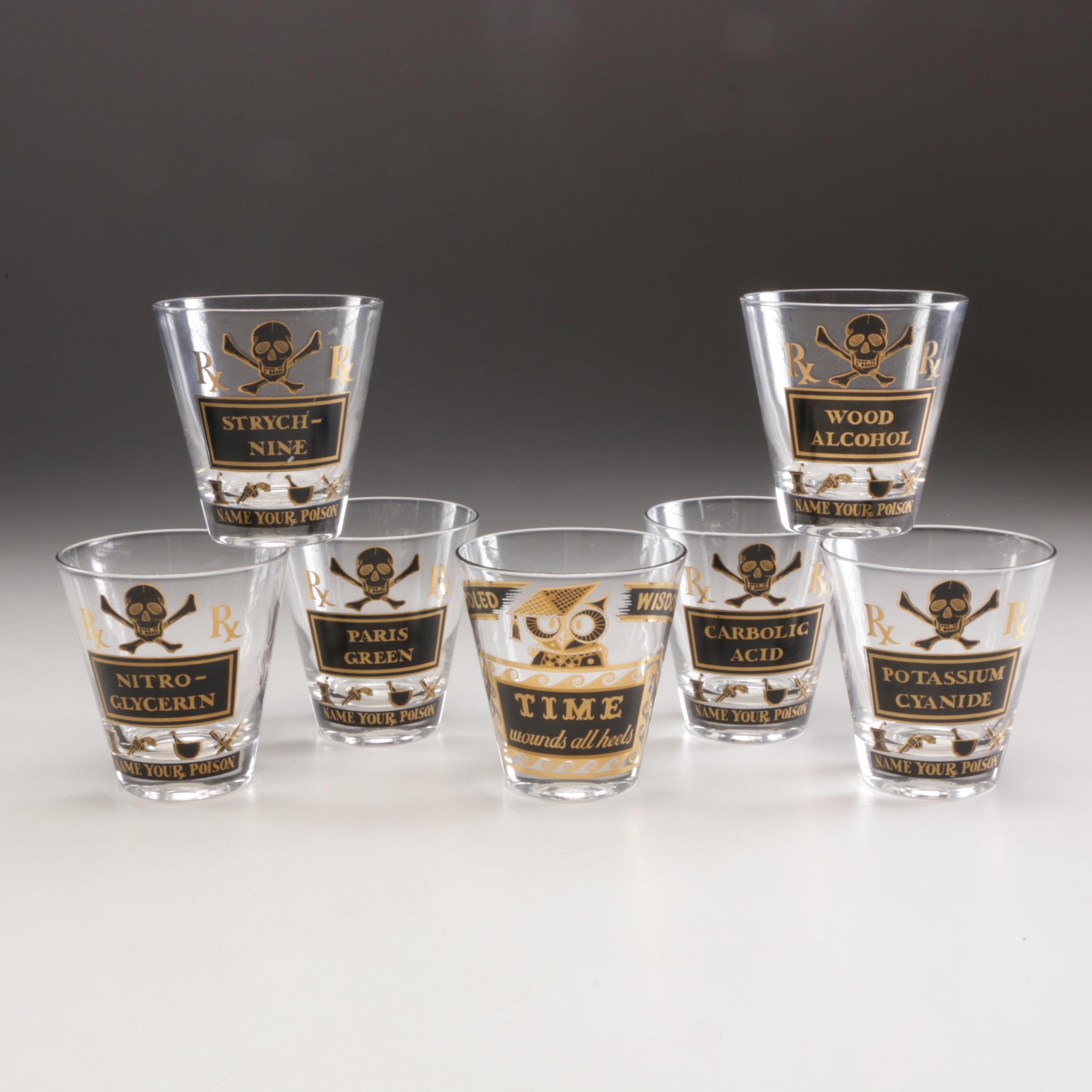 "Georges Briard ""Name Your Poison"" and ""Time"" Old Fashioned Glasses"