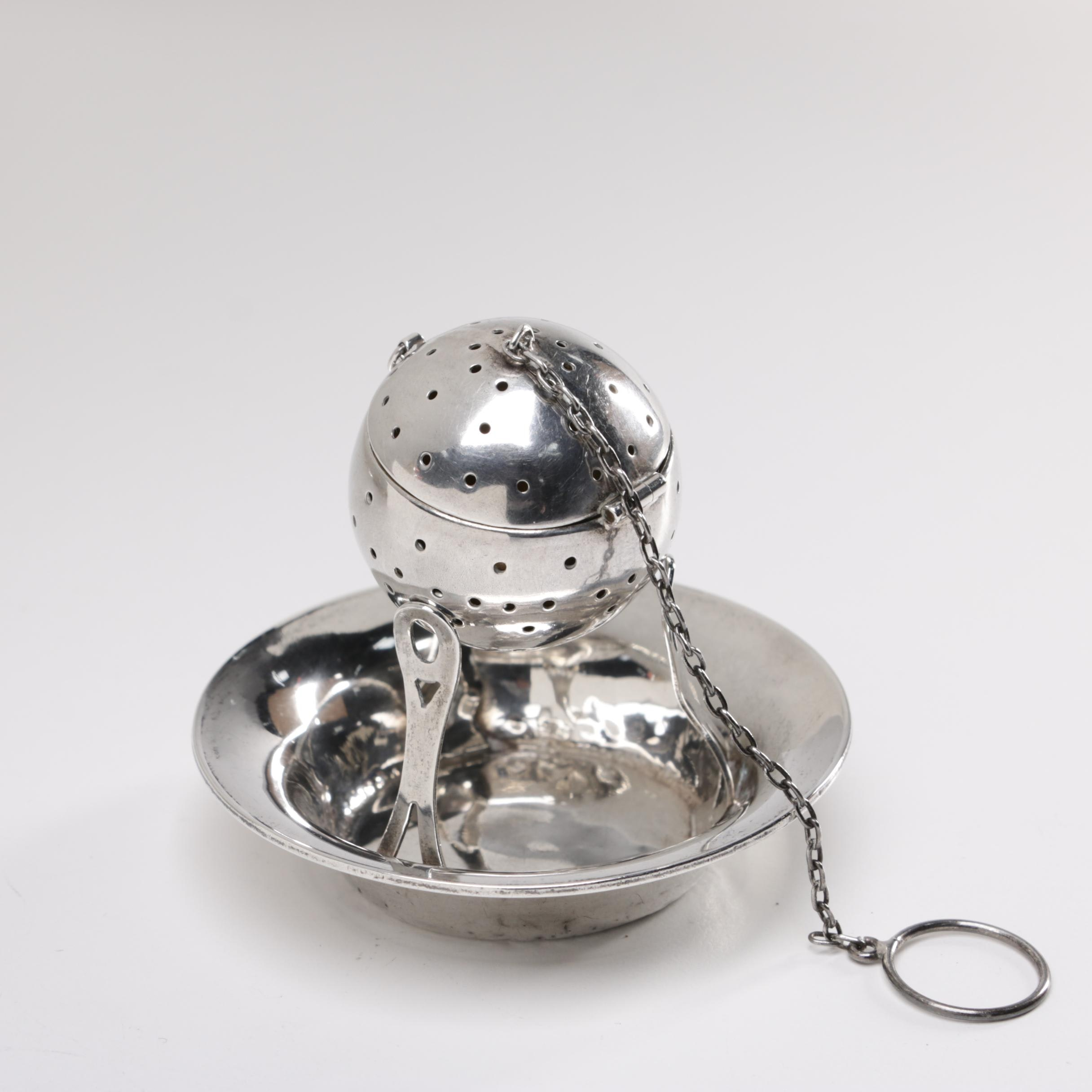 Webster Co. Sterling Tea Infuser and Drip Bowl, Early 20th Century