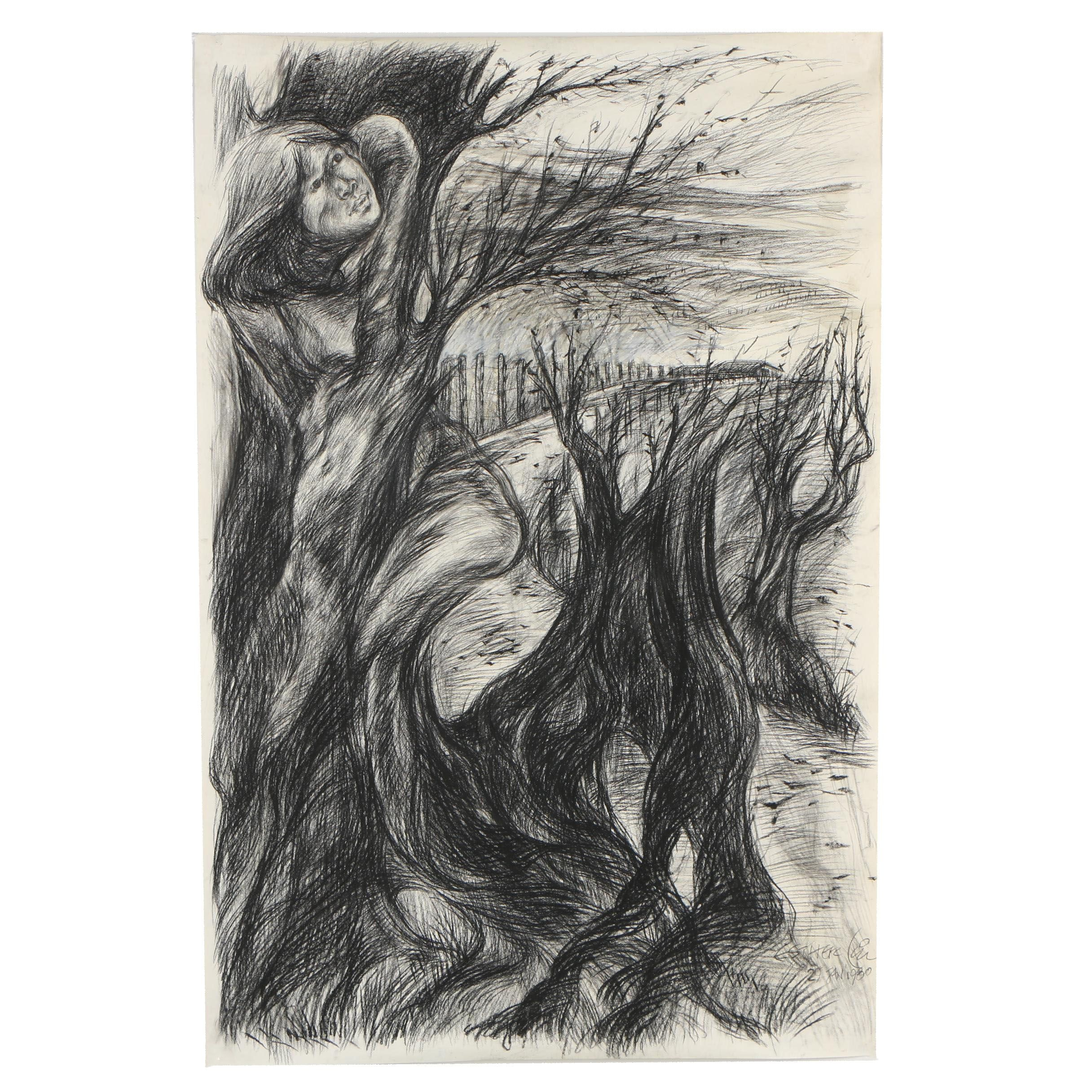 Esther Liu 1980 Abstract Charcoal Drawing