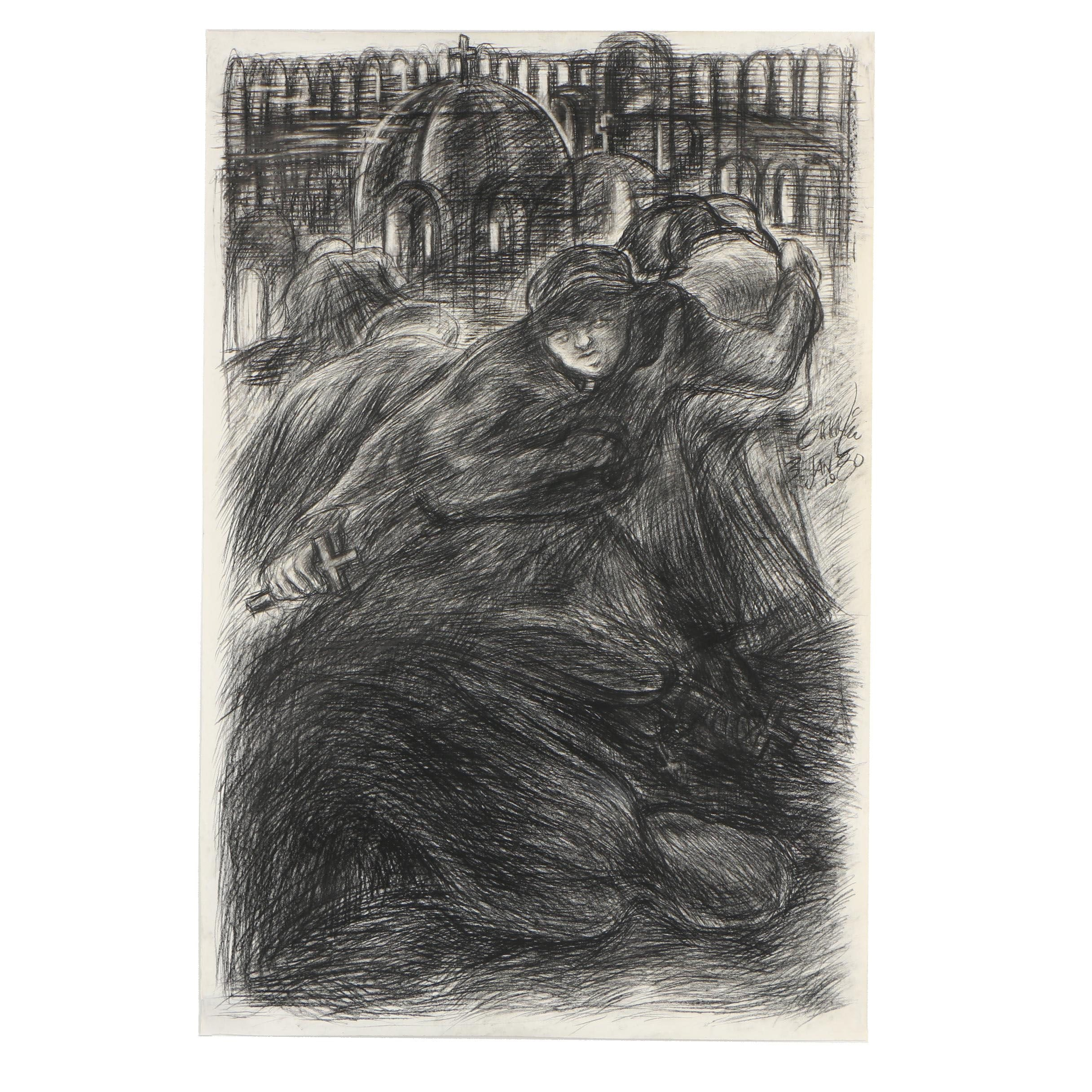 Esther Liu 1980 Charcoal Drawing