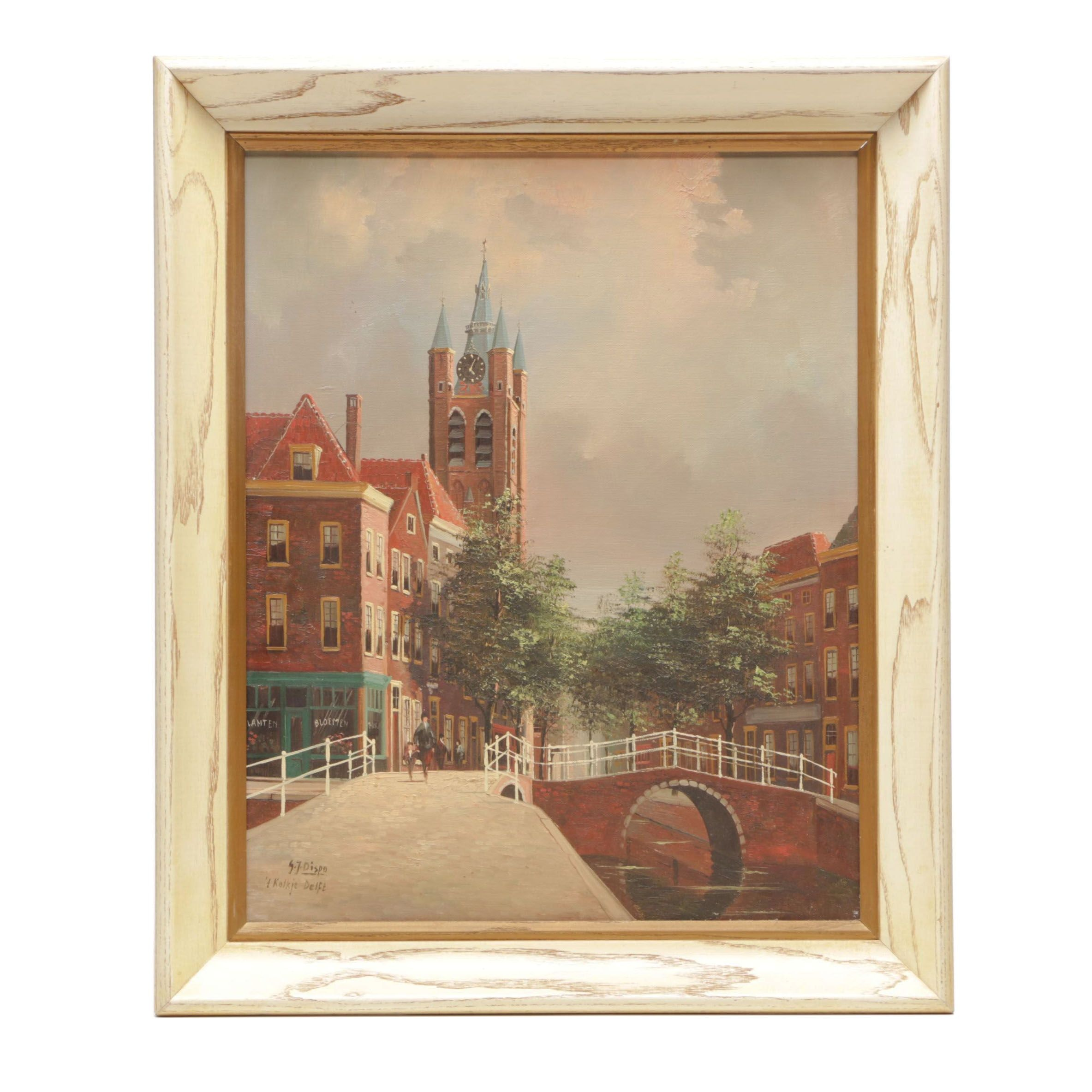 "George Jan Dispo Oil Painting ""'t Kolkje Delft"""