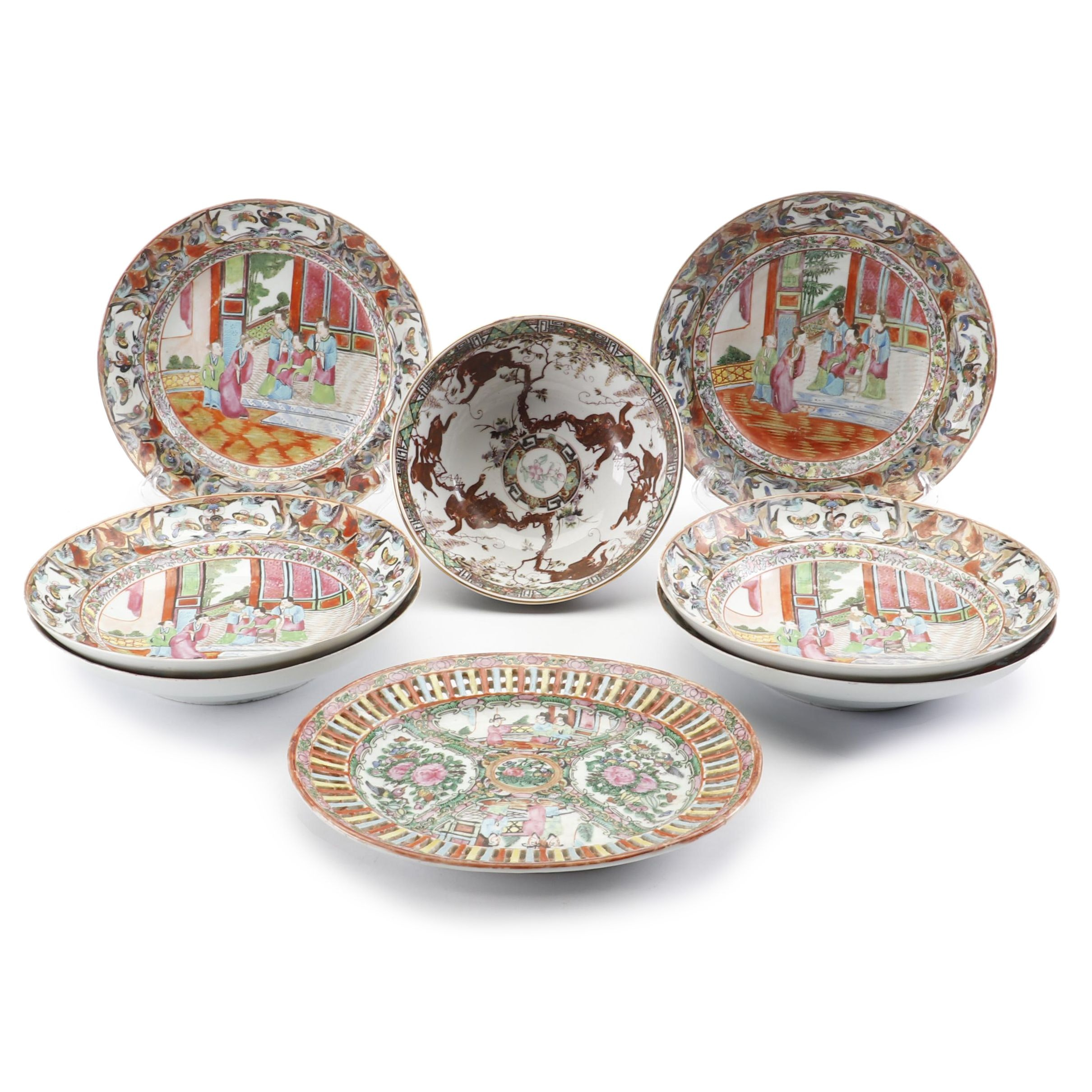 "Chinese ""Rose Medallion"" Soup Bowls, Circa 1870"