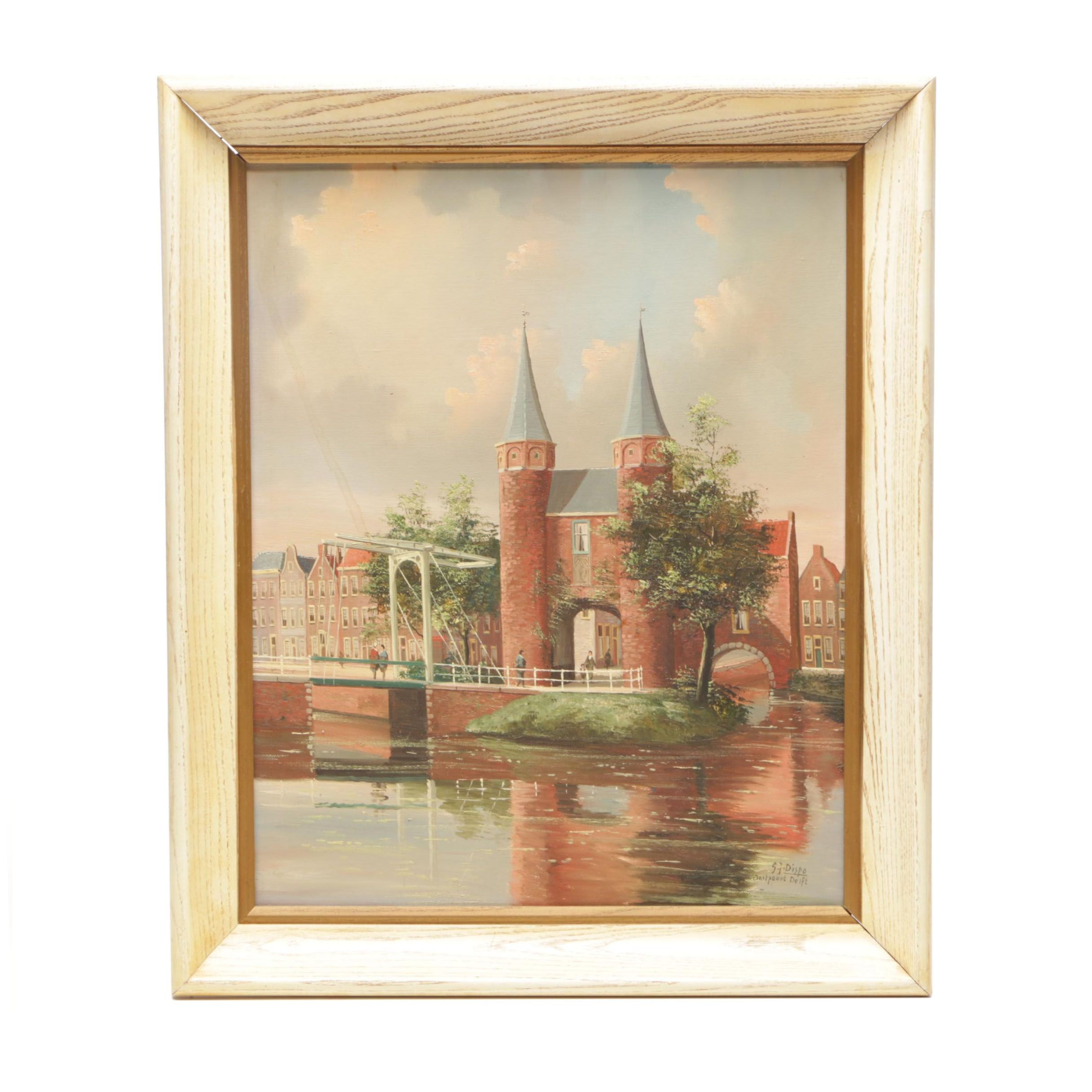 "George Jan Dispo Oil Painting ""Oostpoort Delft"""
