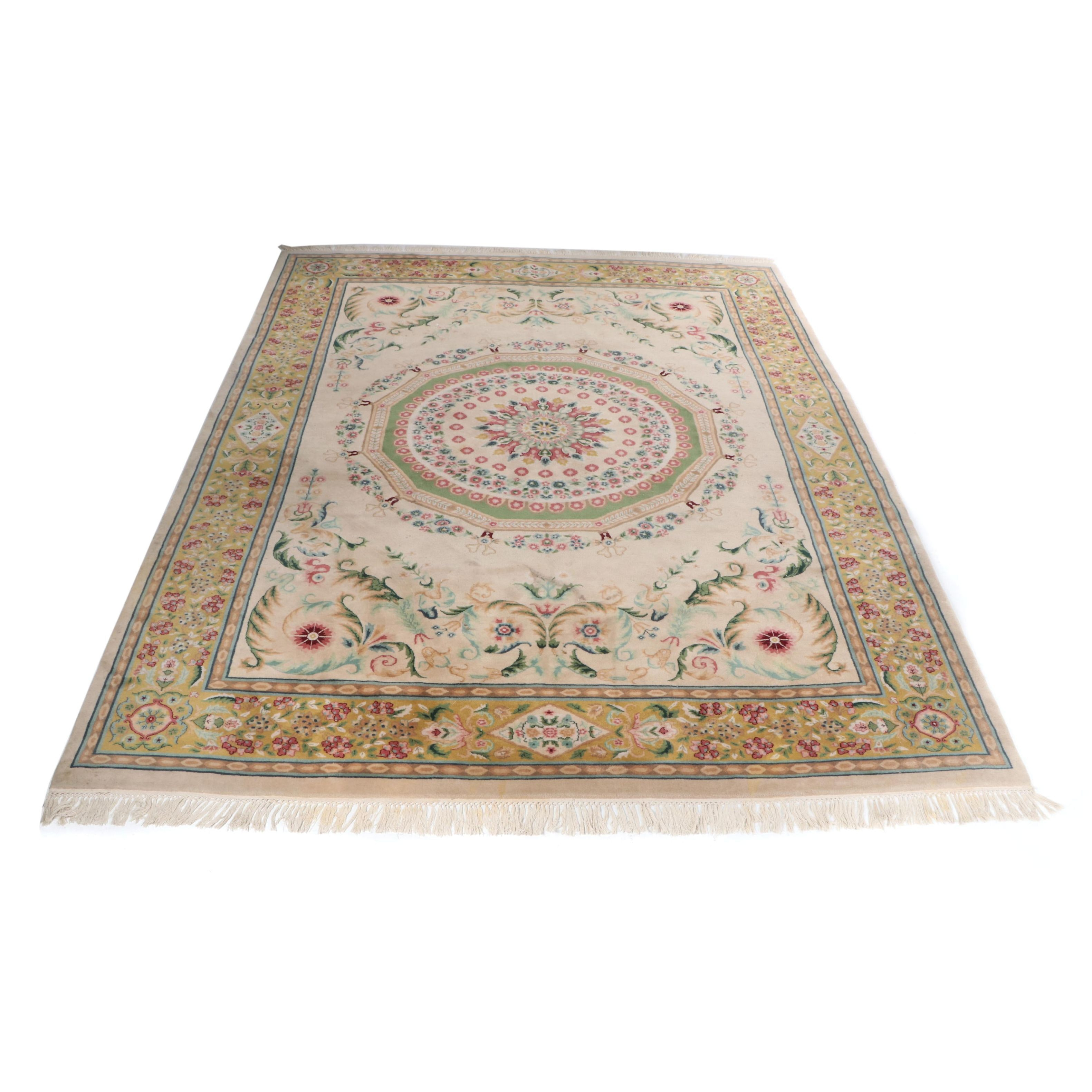Hand-Loomed Indian Aubusson Style Wool Rug