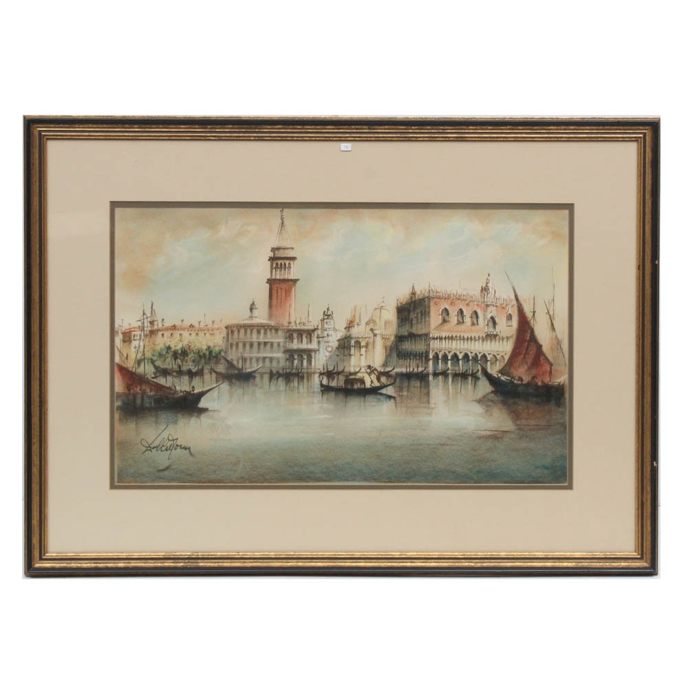 Late 20th Century Venetian Harbor Pastel Drawing