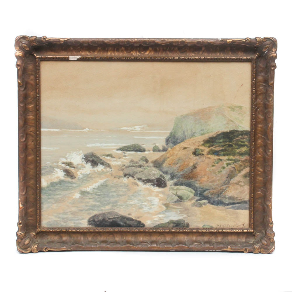 Max Kempowsky Beach Landscape Watercolor Painting
