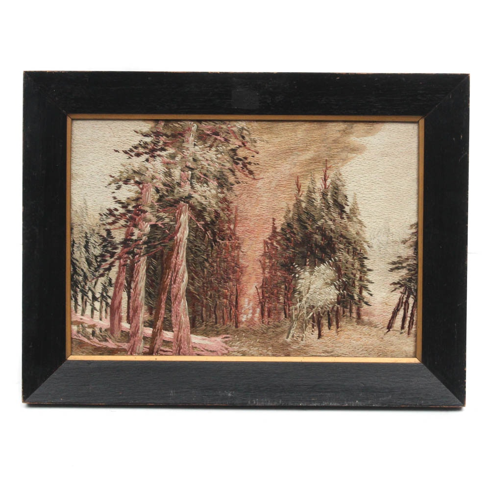 Mid 20th Century Landscape Needlepoint Embroidery