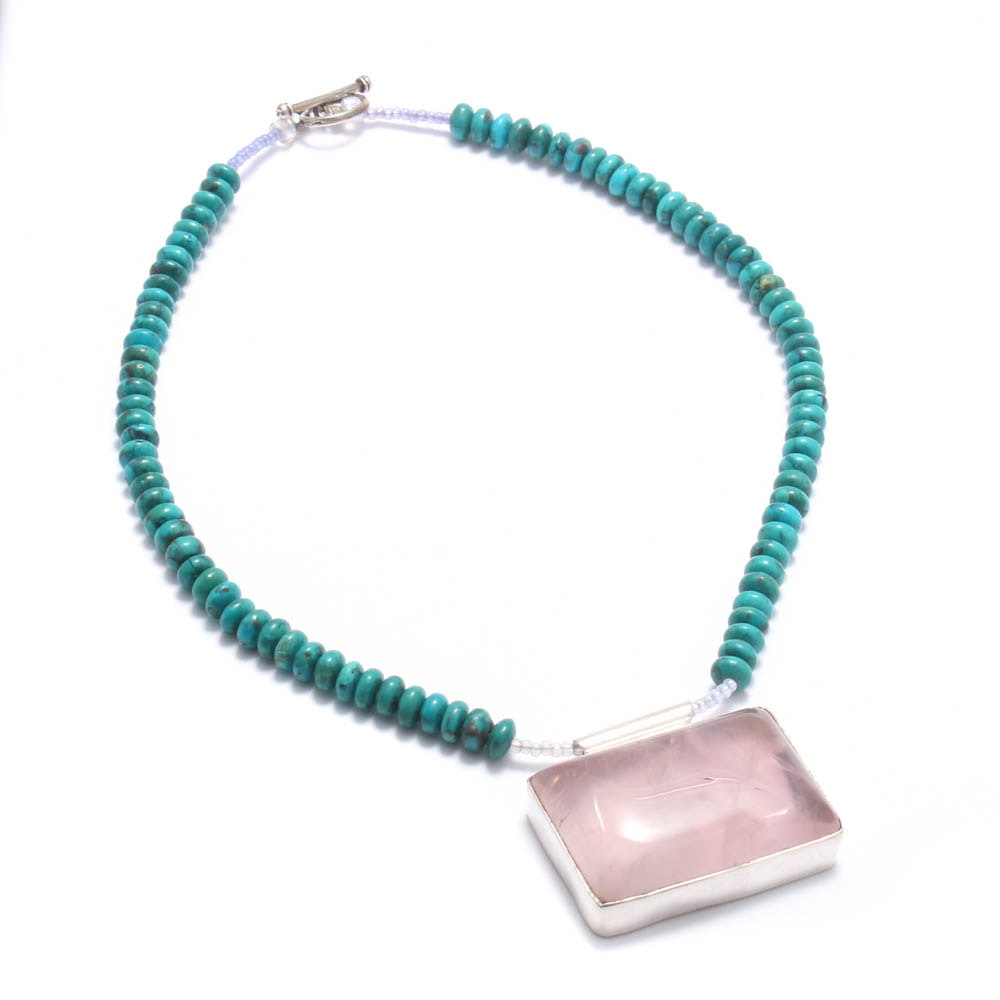 Sterling Silver Rose Quartz and Turquoise Necklace